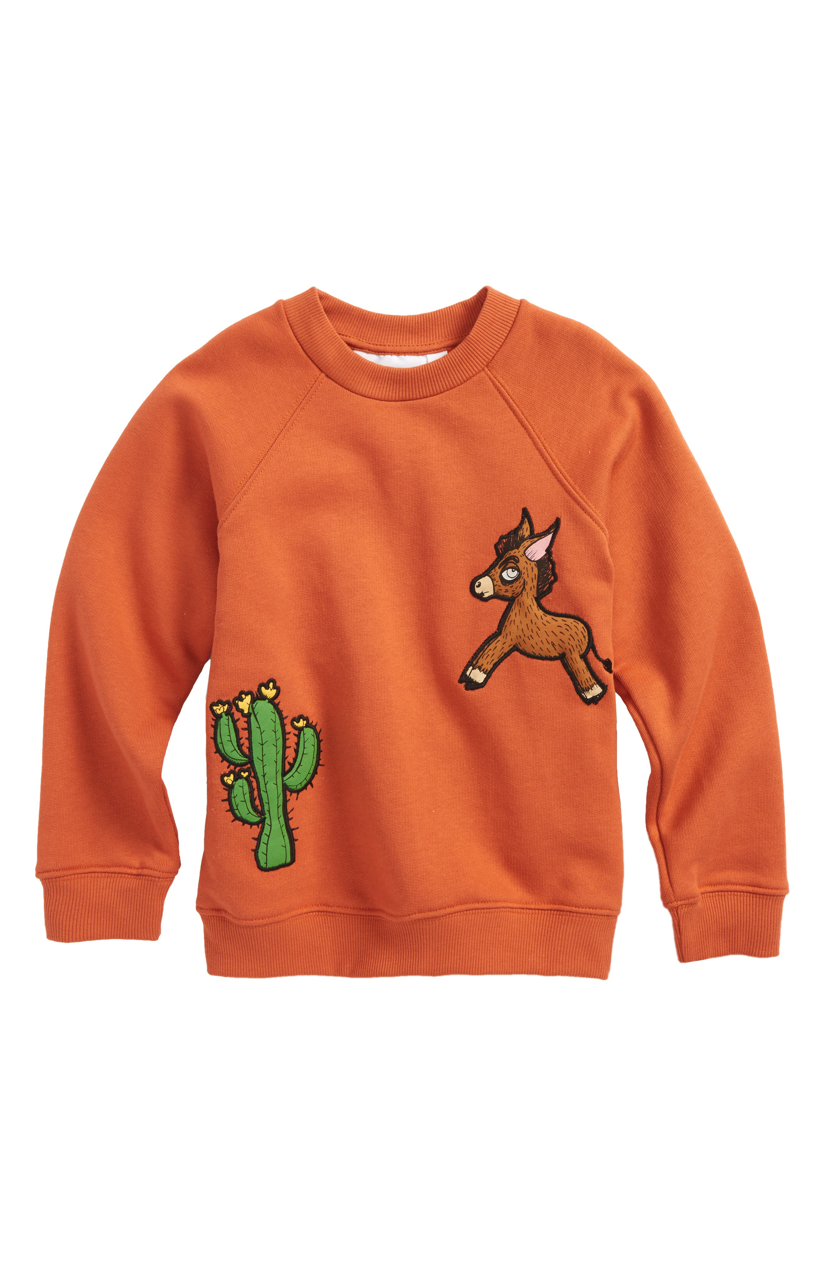 Donkey & Cactus Appliqué Organic Cotton Sweatshirt,                             Main thumbnail 1, color,                             Orange
