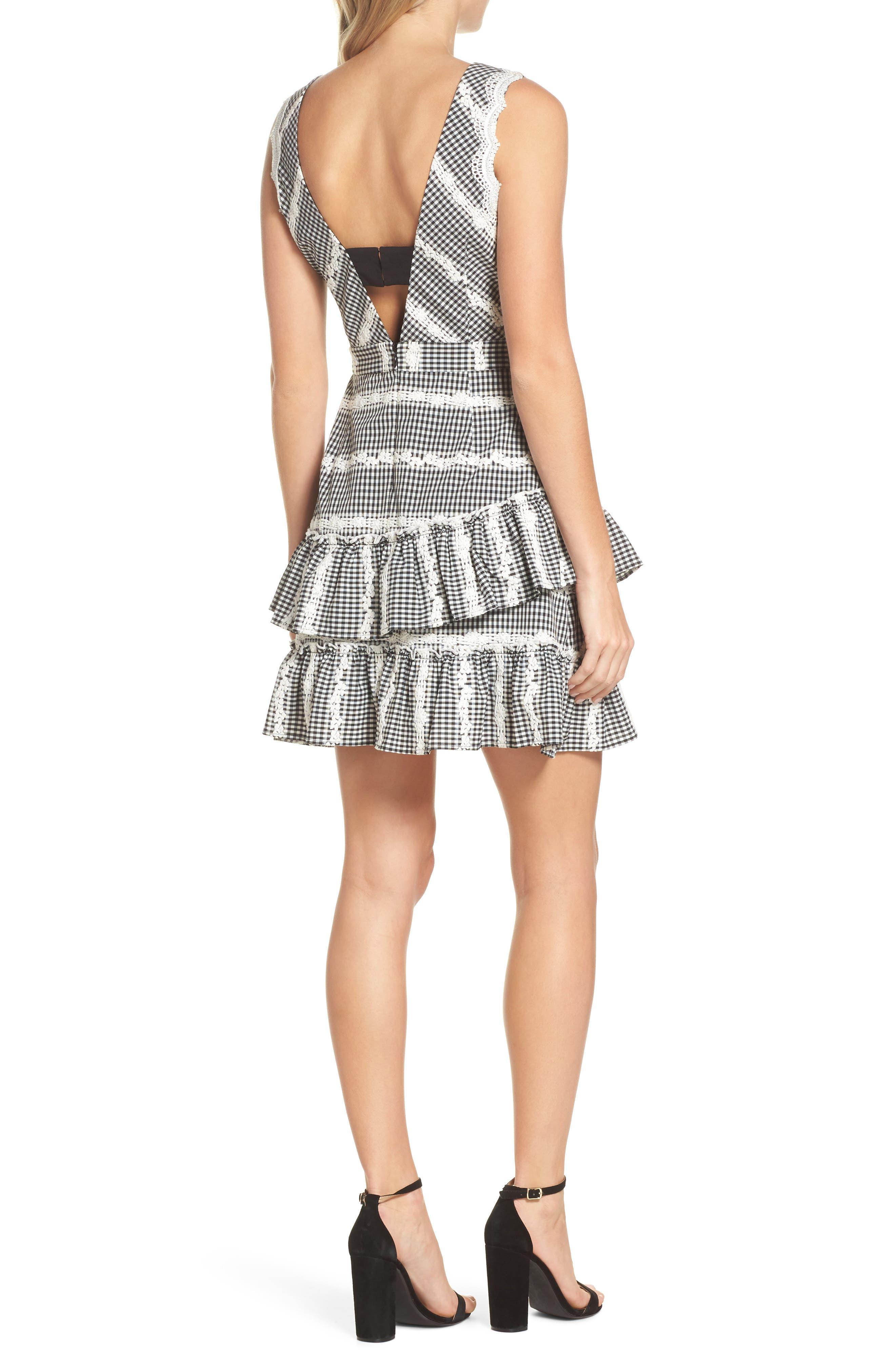 Belle Ruffle Gingham Dress,                             Alternate thumbnail 2, color,                             Black/ White