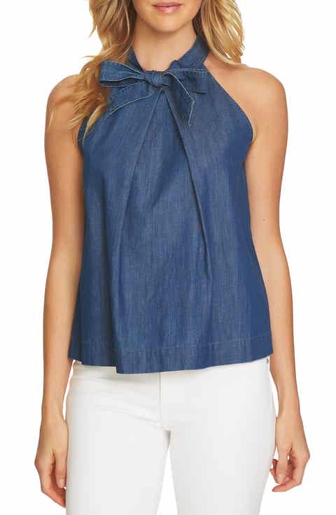 CeCe Denim Bow Halter Top