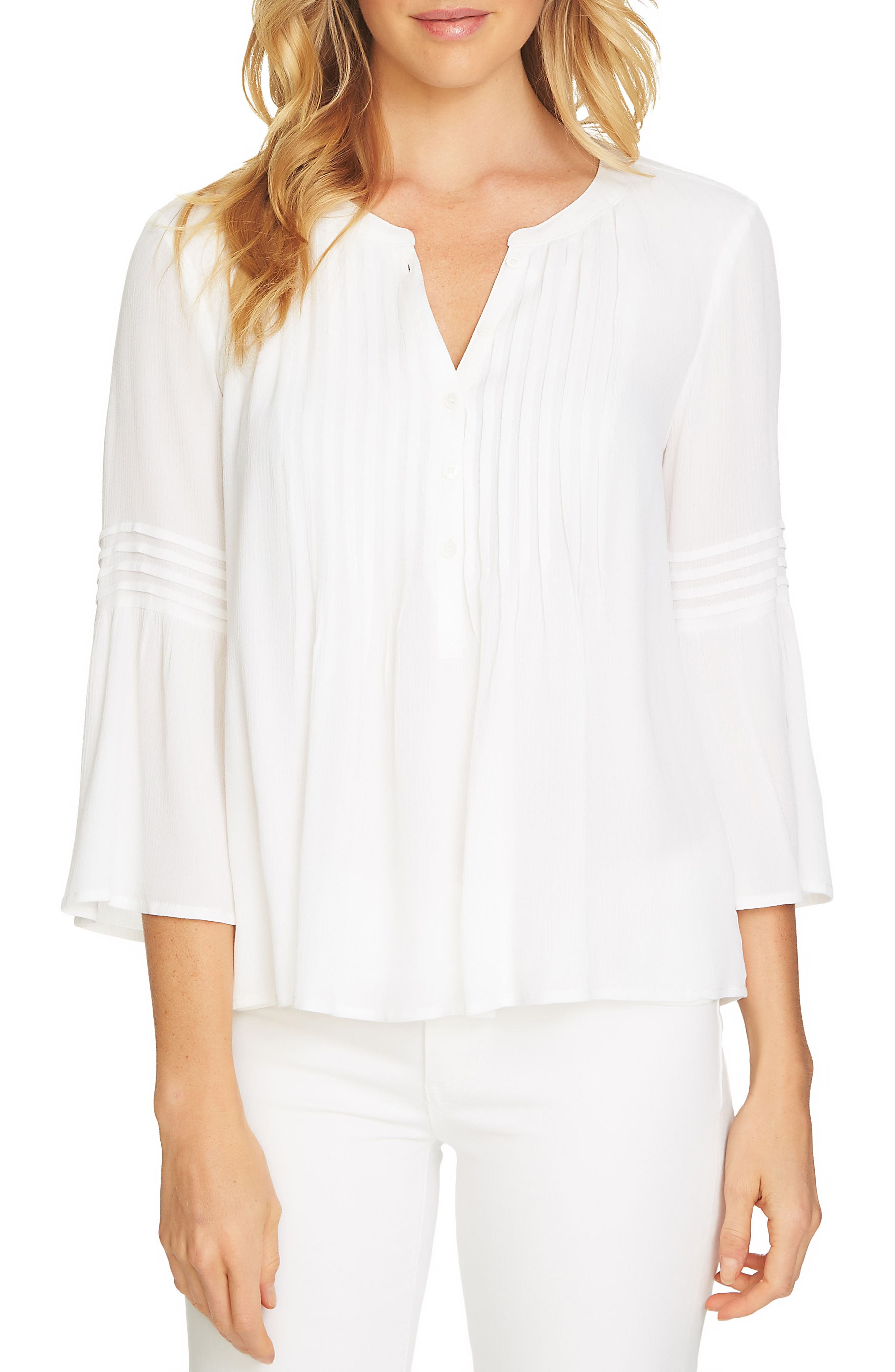 CeCe Ruffled Sleeve Pintuck Top