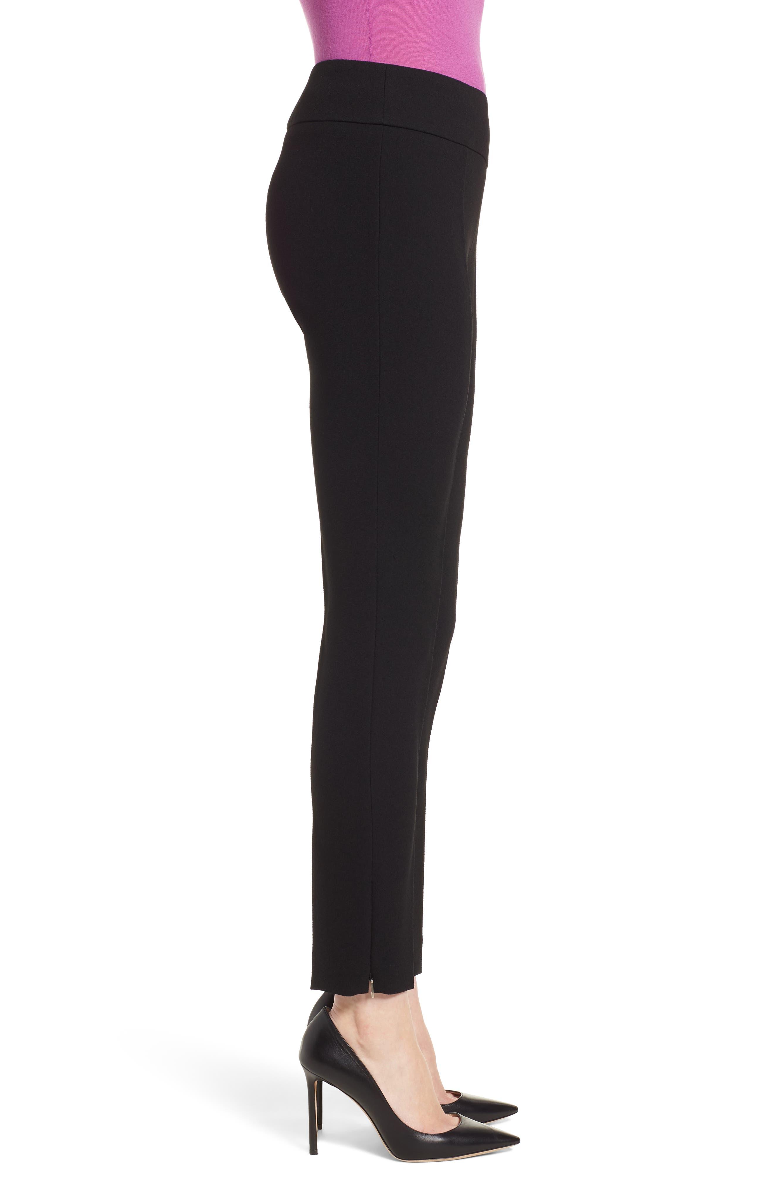 Timalea Compact Crepe Side Zip Slim Leg Trousers,                             Alternate thumbnail 3, color,                             Black