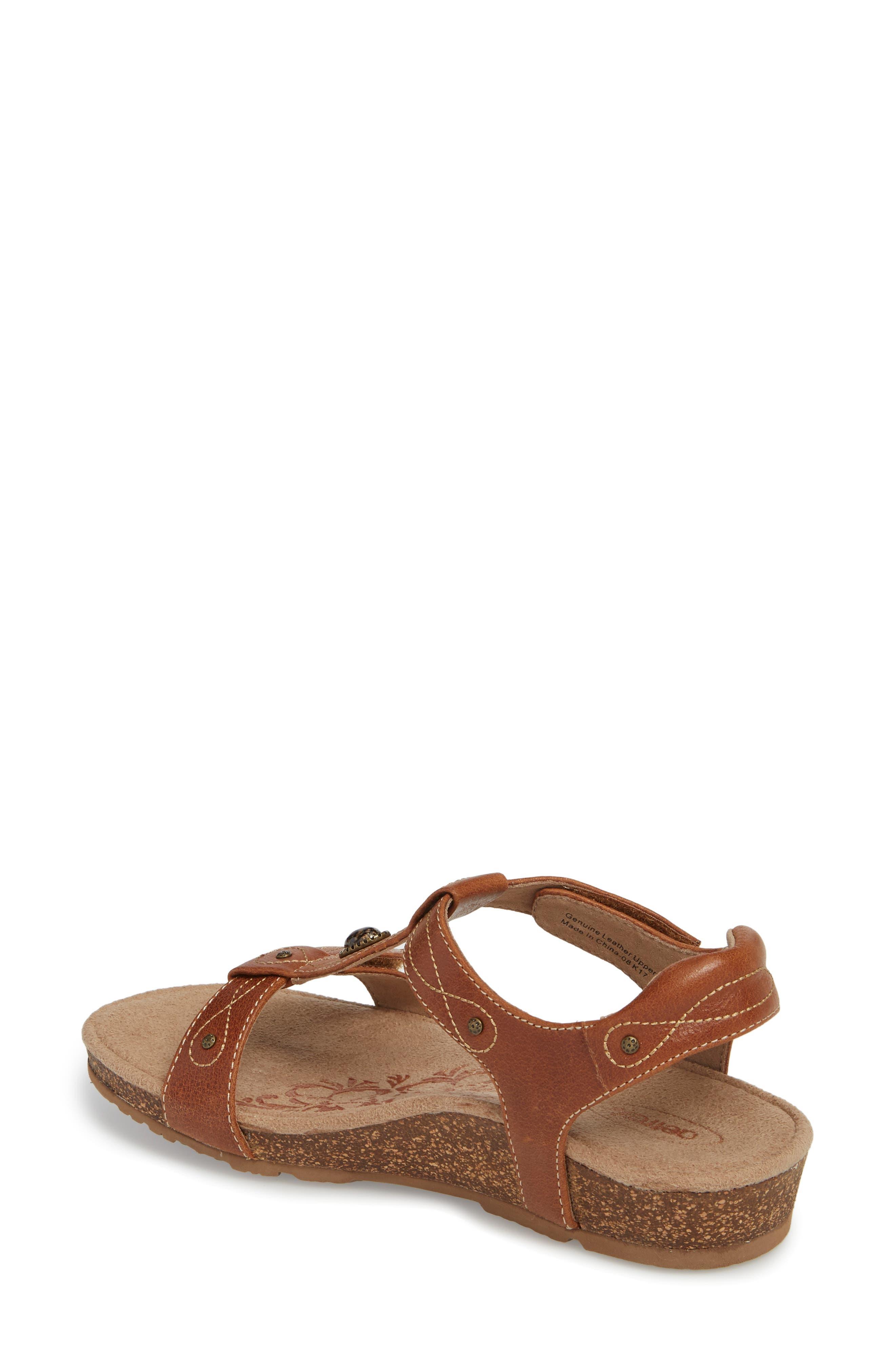 'Lori' Sandal,                             Alternate thumbnail 2, color,                             Cognac Leather