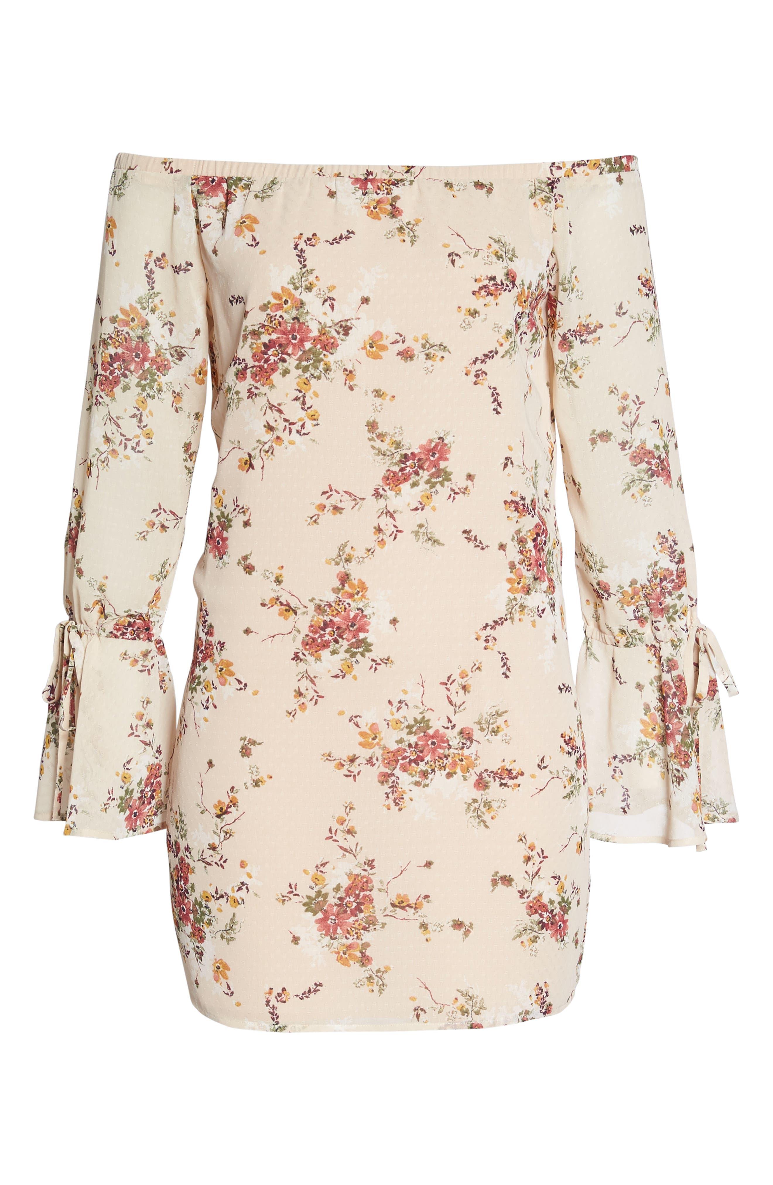 It's Love Floral Off the Shoulder Shift Dress,                             Alternate thumbnail 6, color,                             Crme Vintage Bouquet
