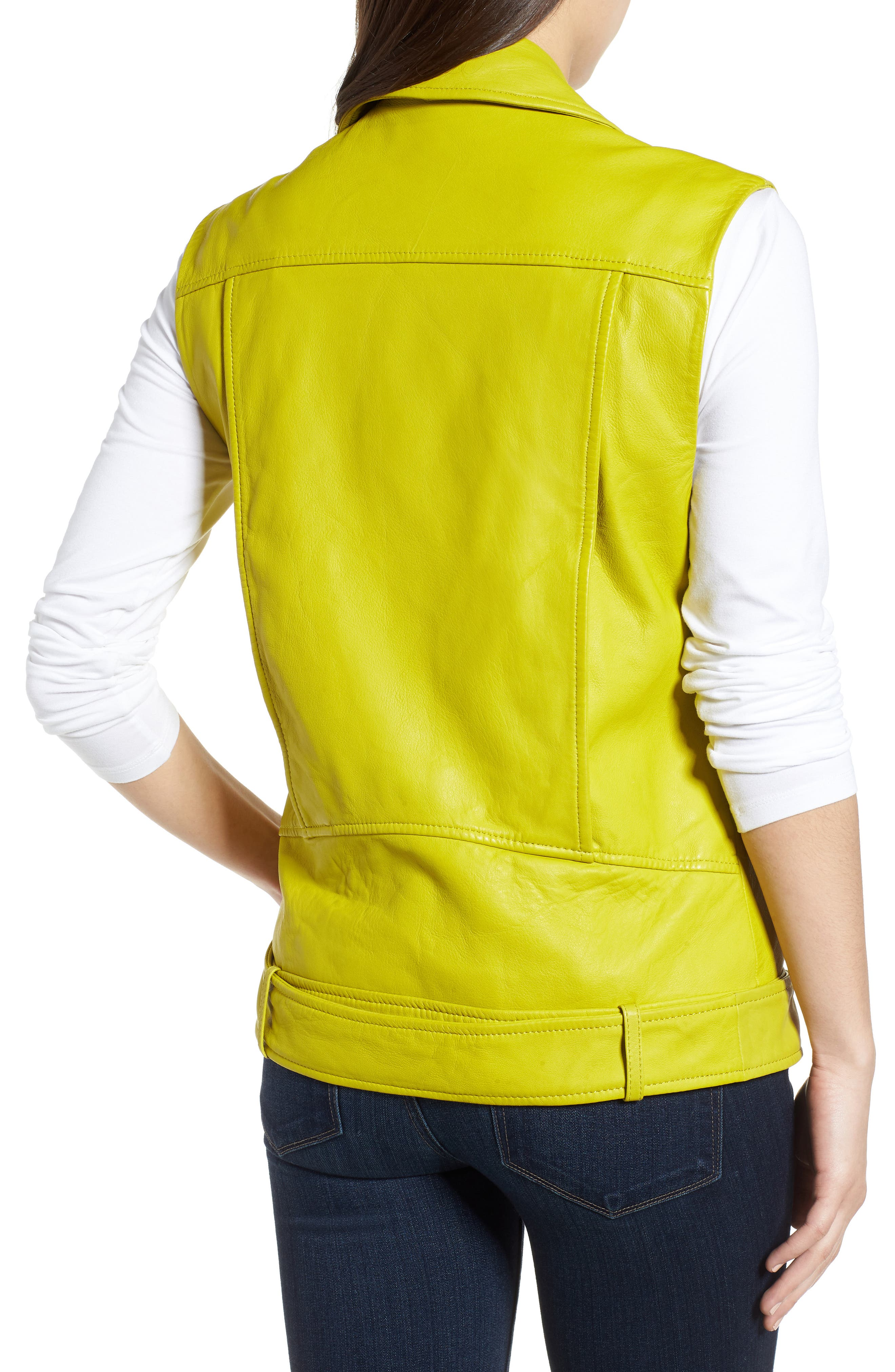 Washed Green Leather Moto Vest,                             Alternate thumbnail 2, color,                             Canary