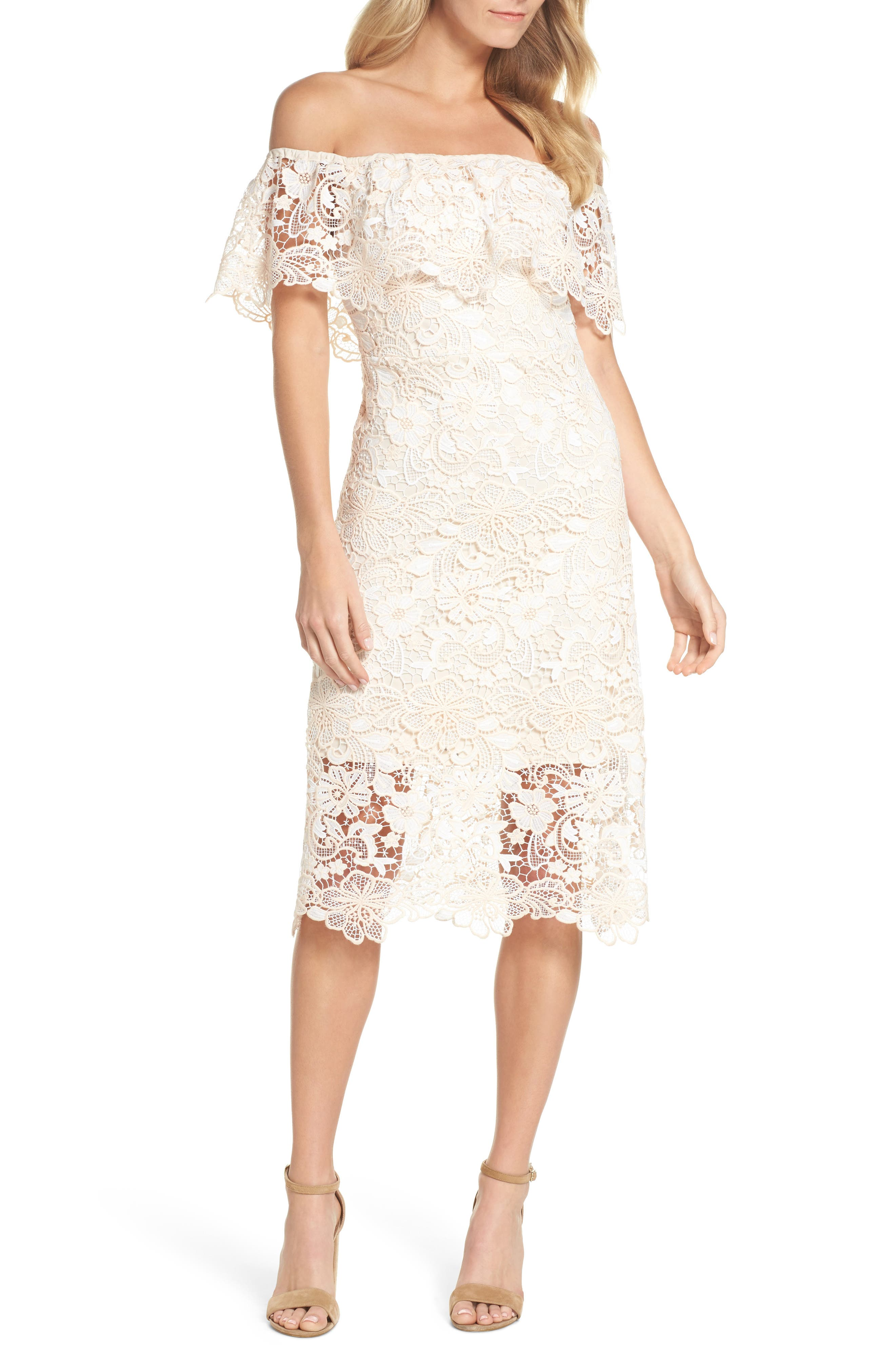 Off the Shoulder Lace Midi Dress,                             Main thumbnail 1, color,                             Ivory Floral