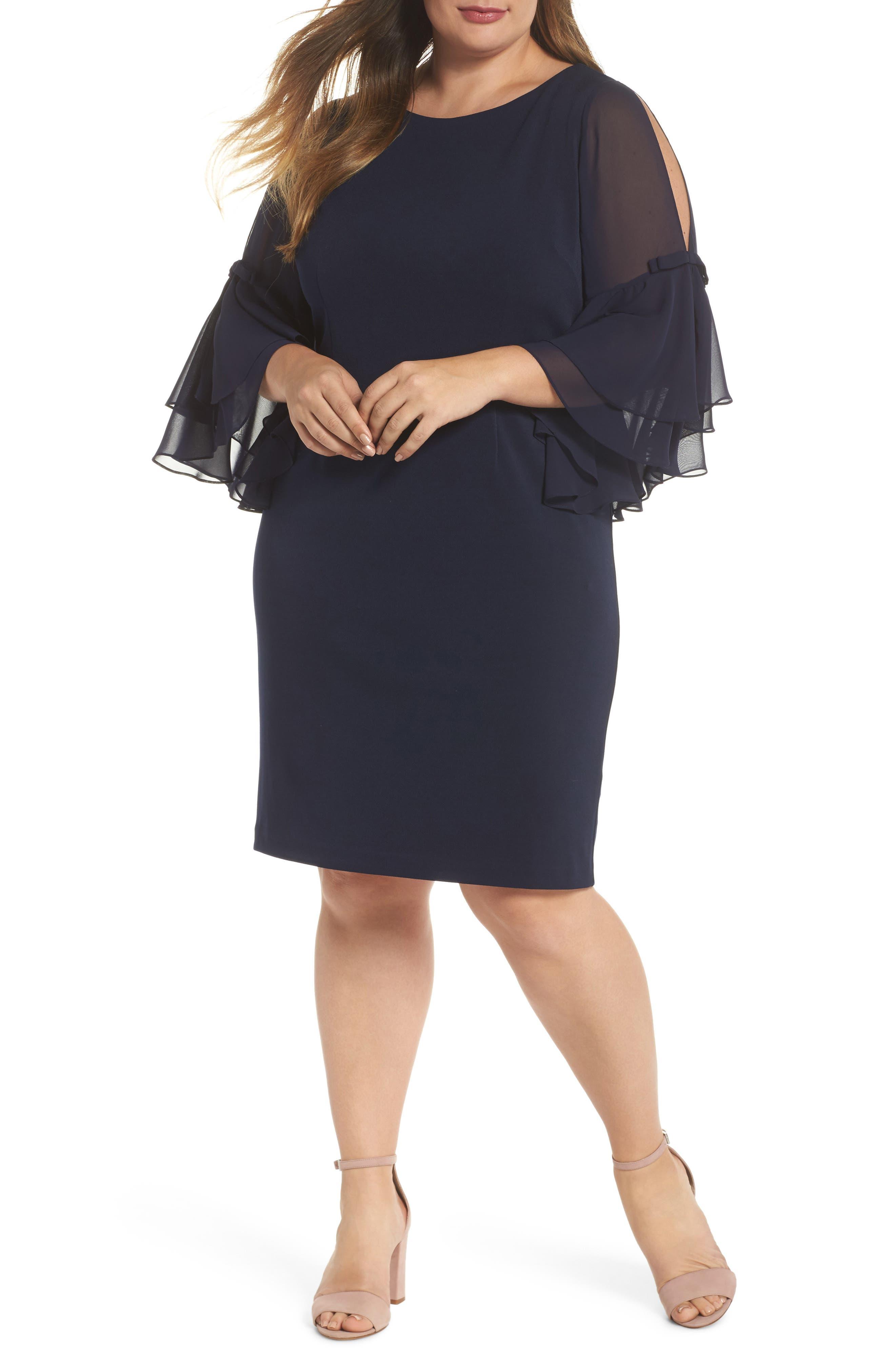 Bow Sleeve Chiffon Shift Dress,                         Main,                         color, Navy