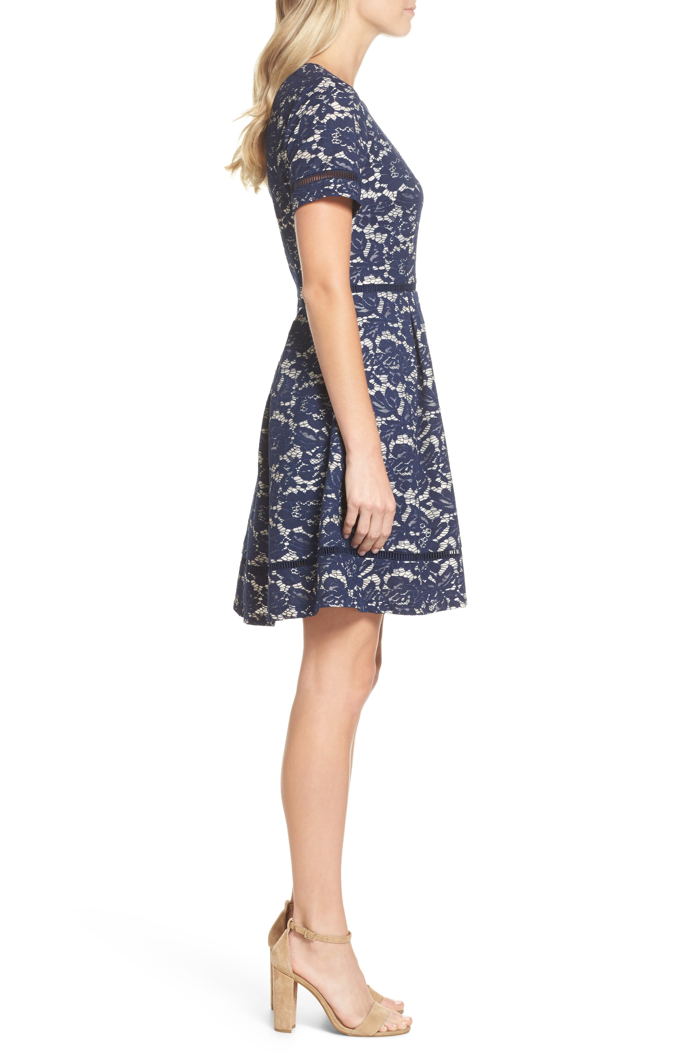 Bonded Lace Fit & Flare Dress,                             Alternate thumbnail 3, color,                             Navy
