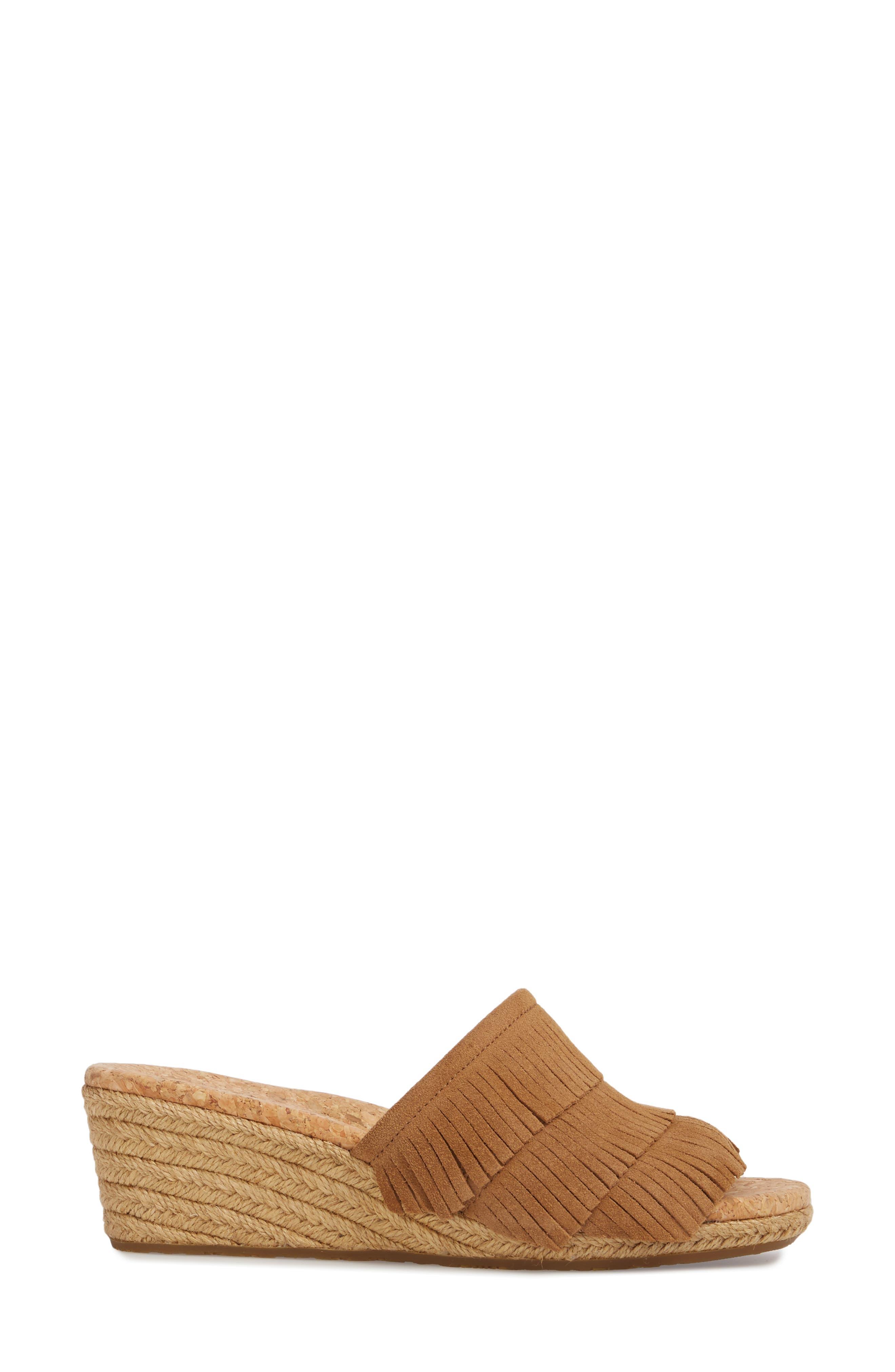 Kendra Fringe Wedge Sandal,                             Alternate thumbnail 3, color,                             Chestnut Suede