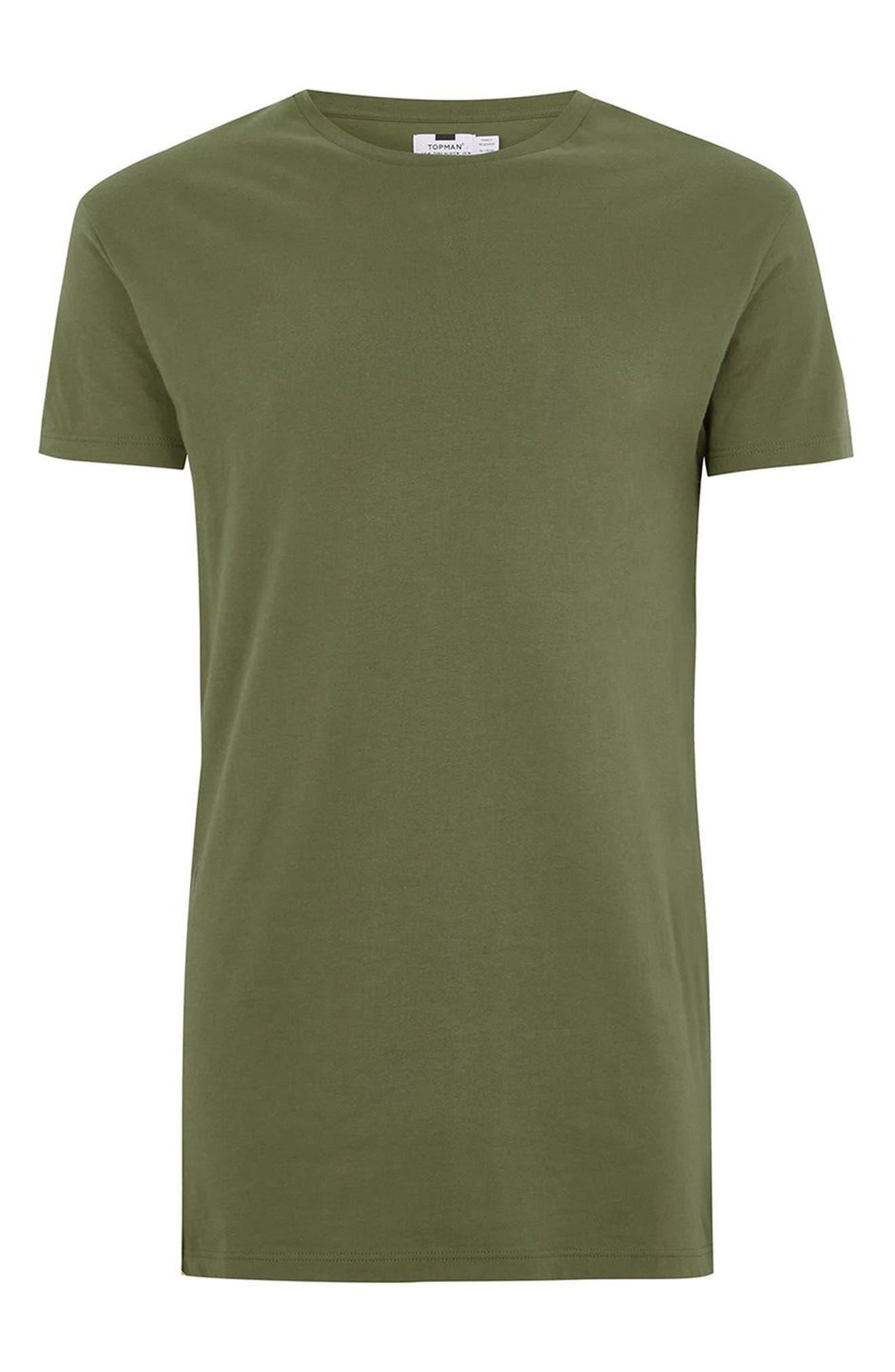 Longline T-Shirt,                             Alternate thumbnail 4, color,                             Olive