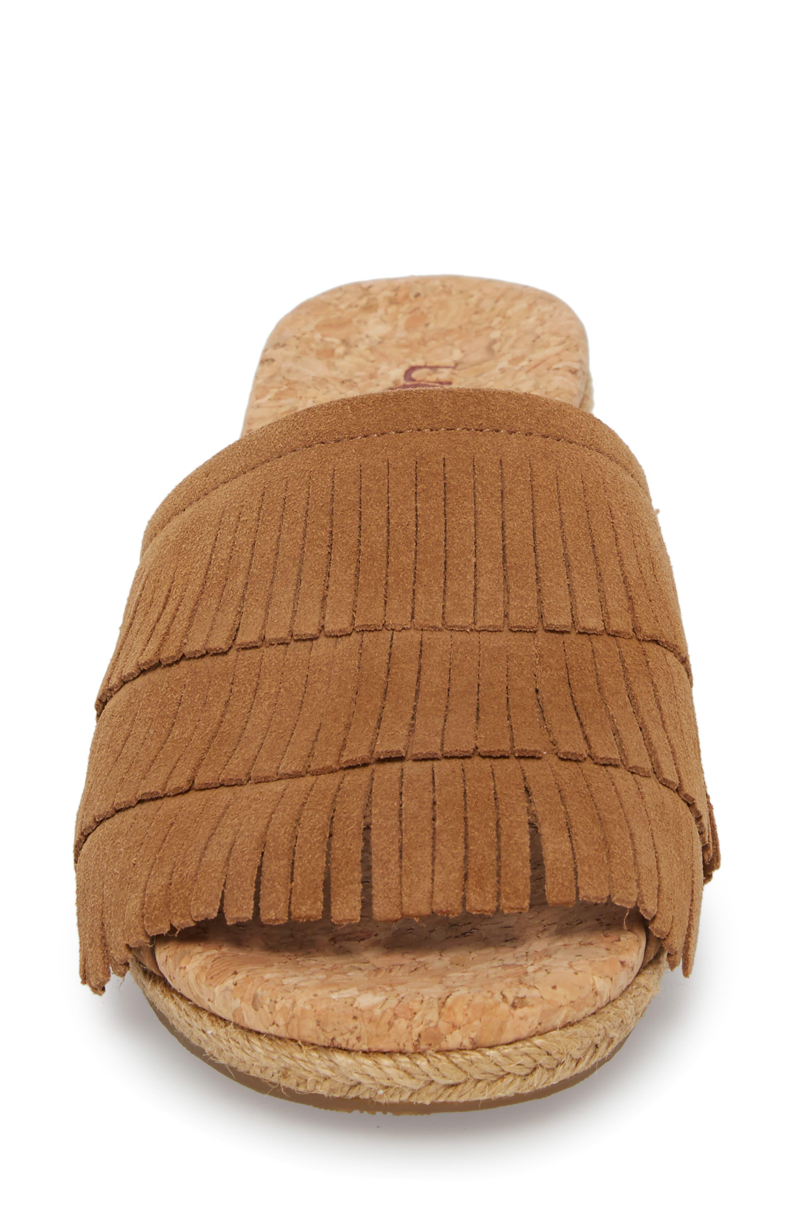 Kendra Fringe Wedge Sandal,                             Alternate thumbnail 4, color,                             Chestnut Suede