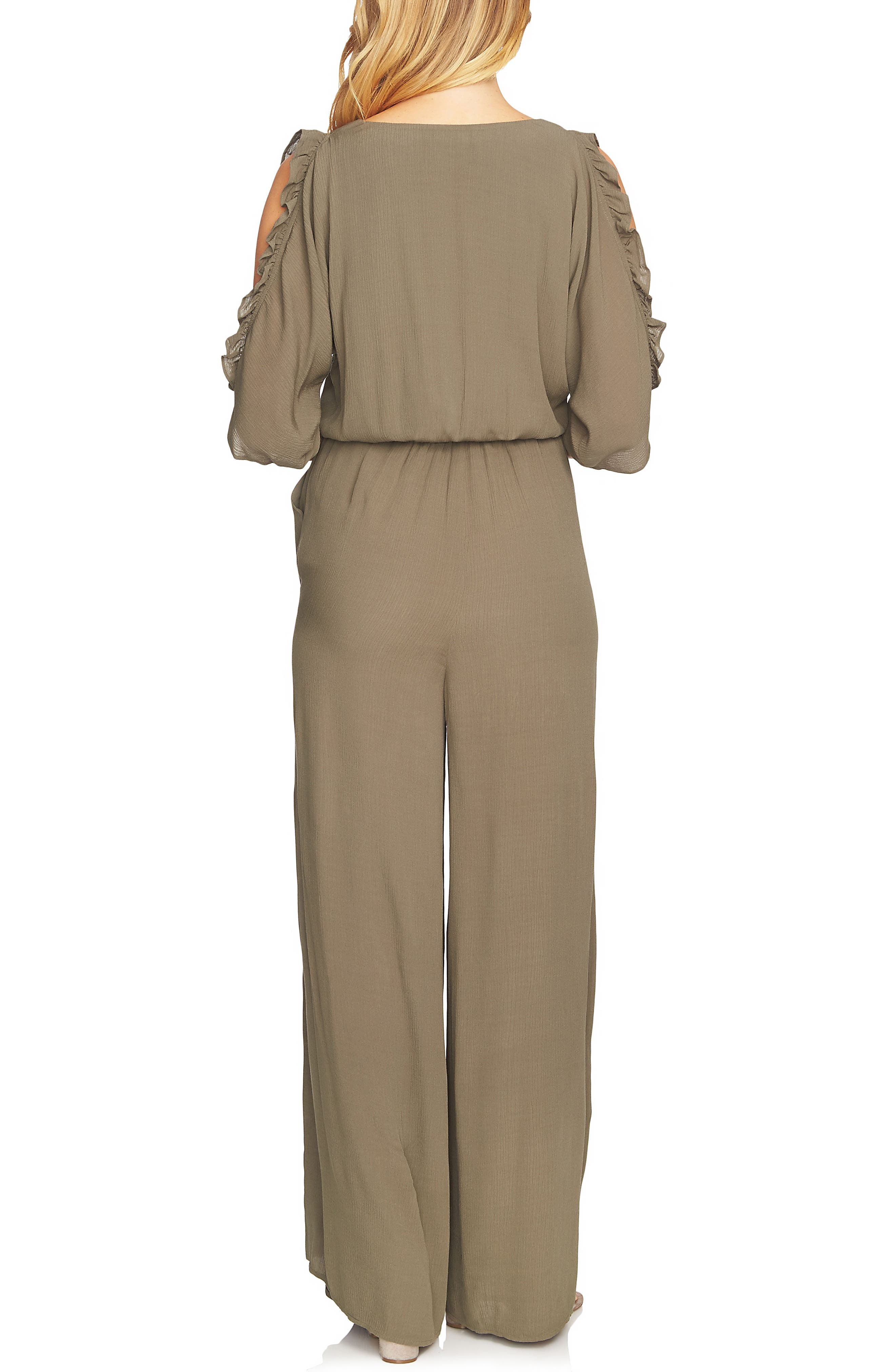Ruffle Sleeve Wide Leg Jumpsuit,                             Alternate thumbnail 2, color,                             Dusty Olive