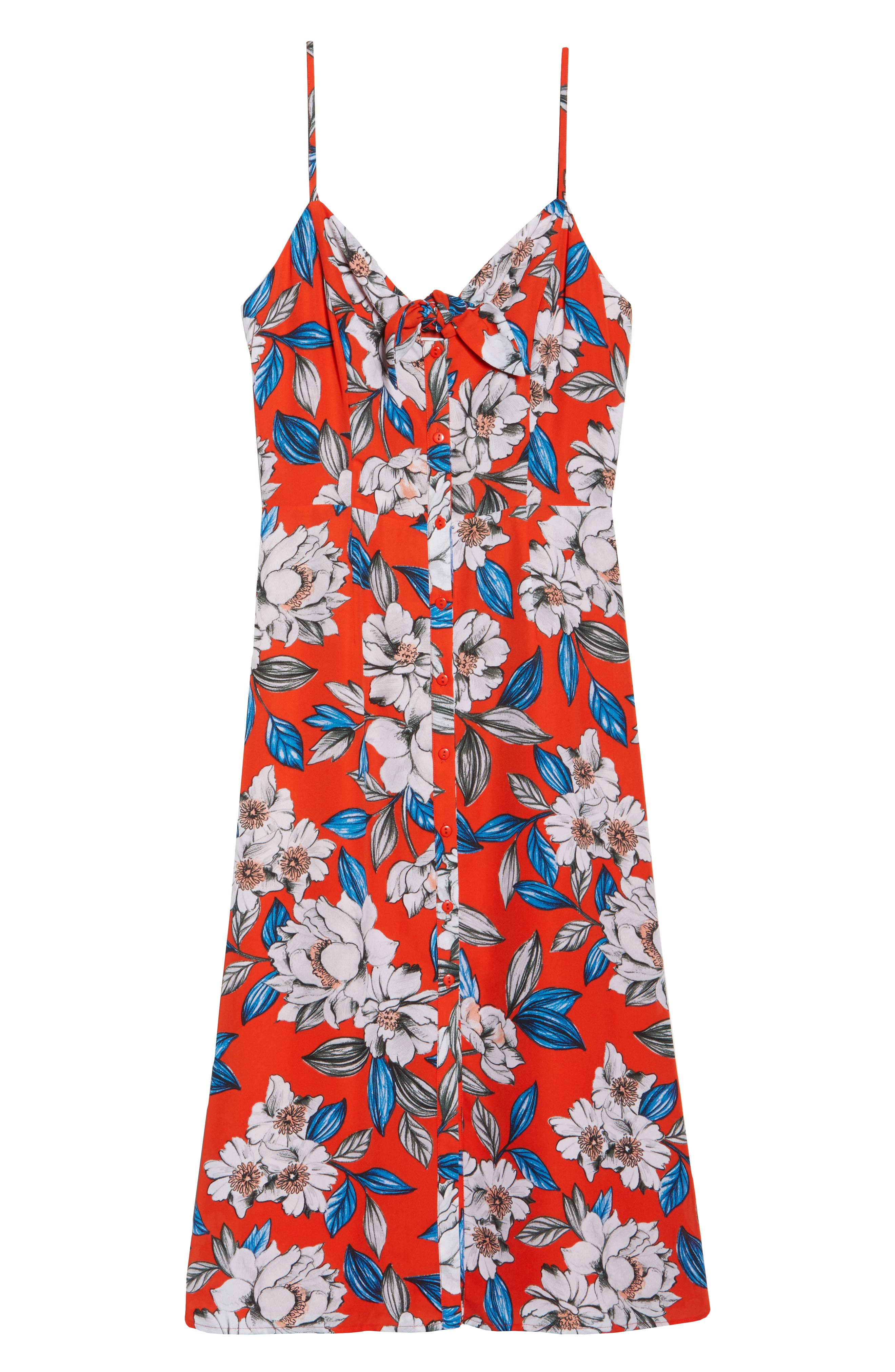 Hey Boy Button Front Midi Dress,                             Alternate thumbnail 7, color,                             Poppy Blooms