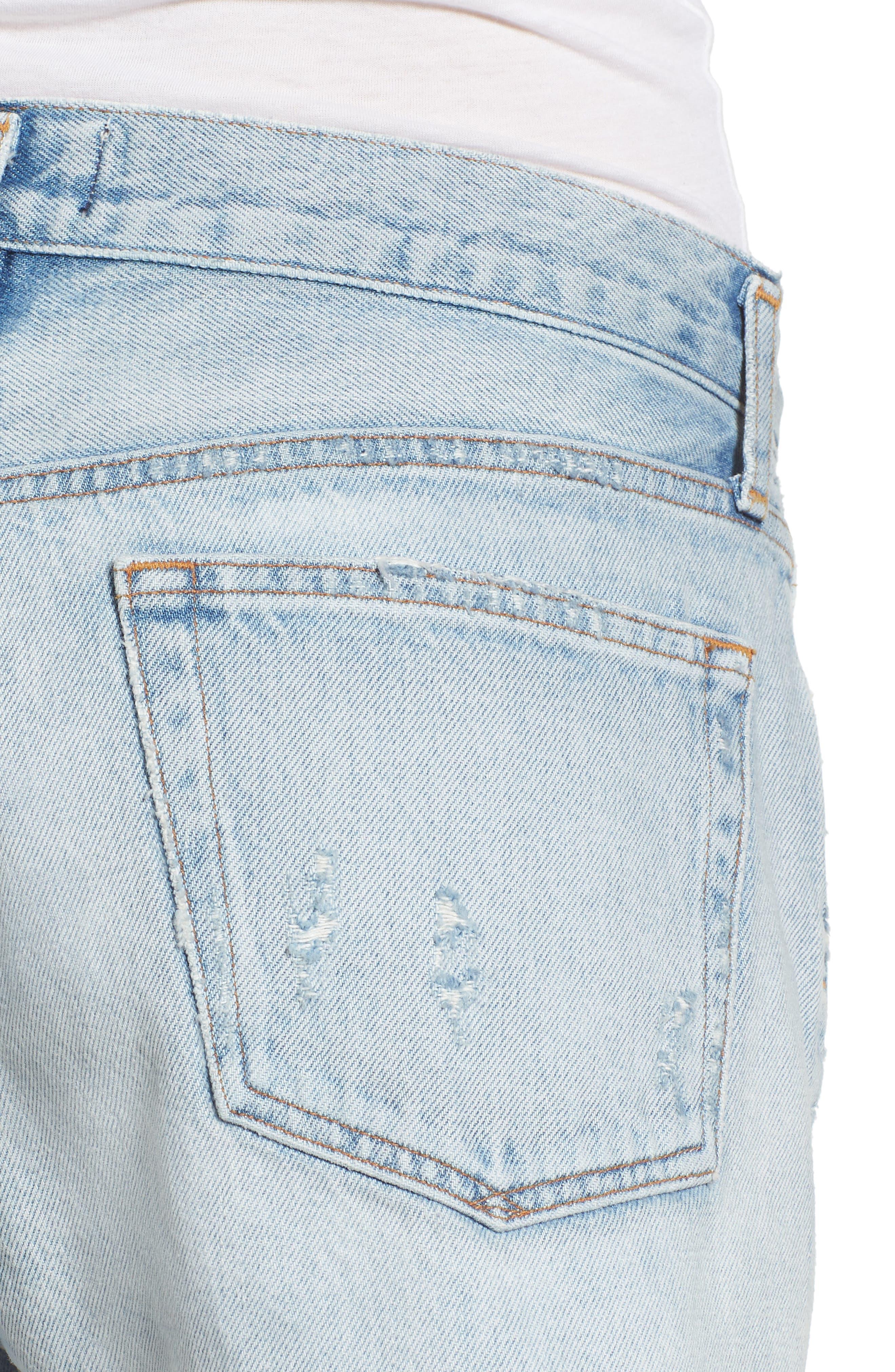 Parker Distressed Denim Shorts,                             Alternate thumbnail 4, color,                             Broken