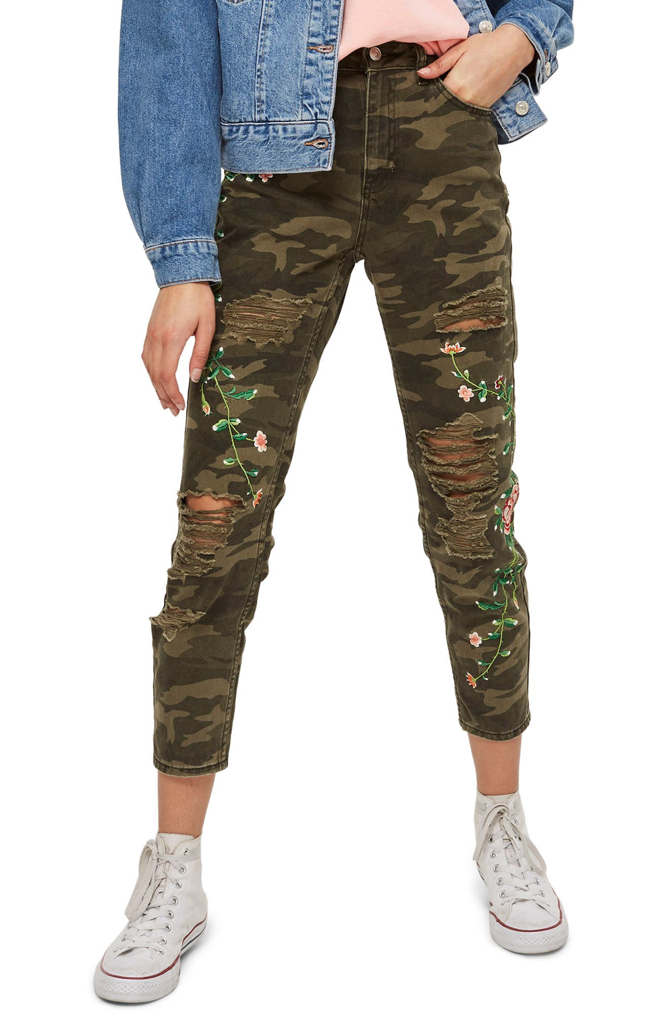 Embroidered Camo Mom Jeans,                             Main thumbnail 1, color,                             Olive Multi