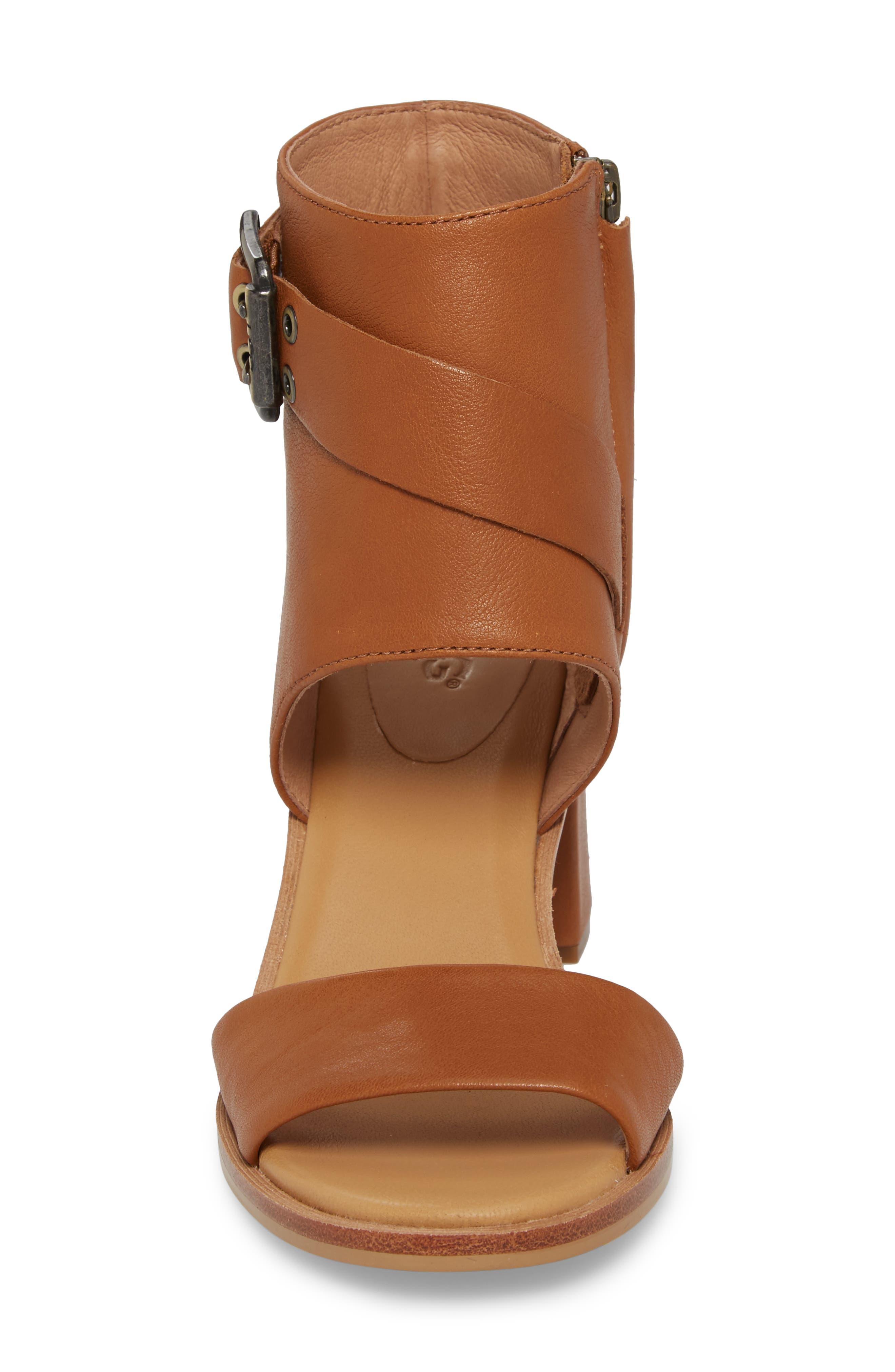 Claudette Cuff Sandal,                             Alternate thumbnail 4, color,                             Almond Leather