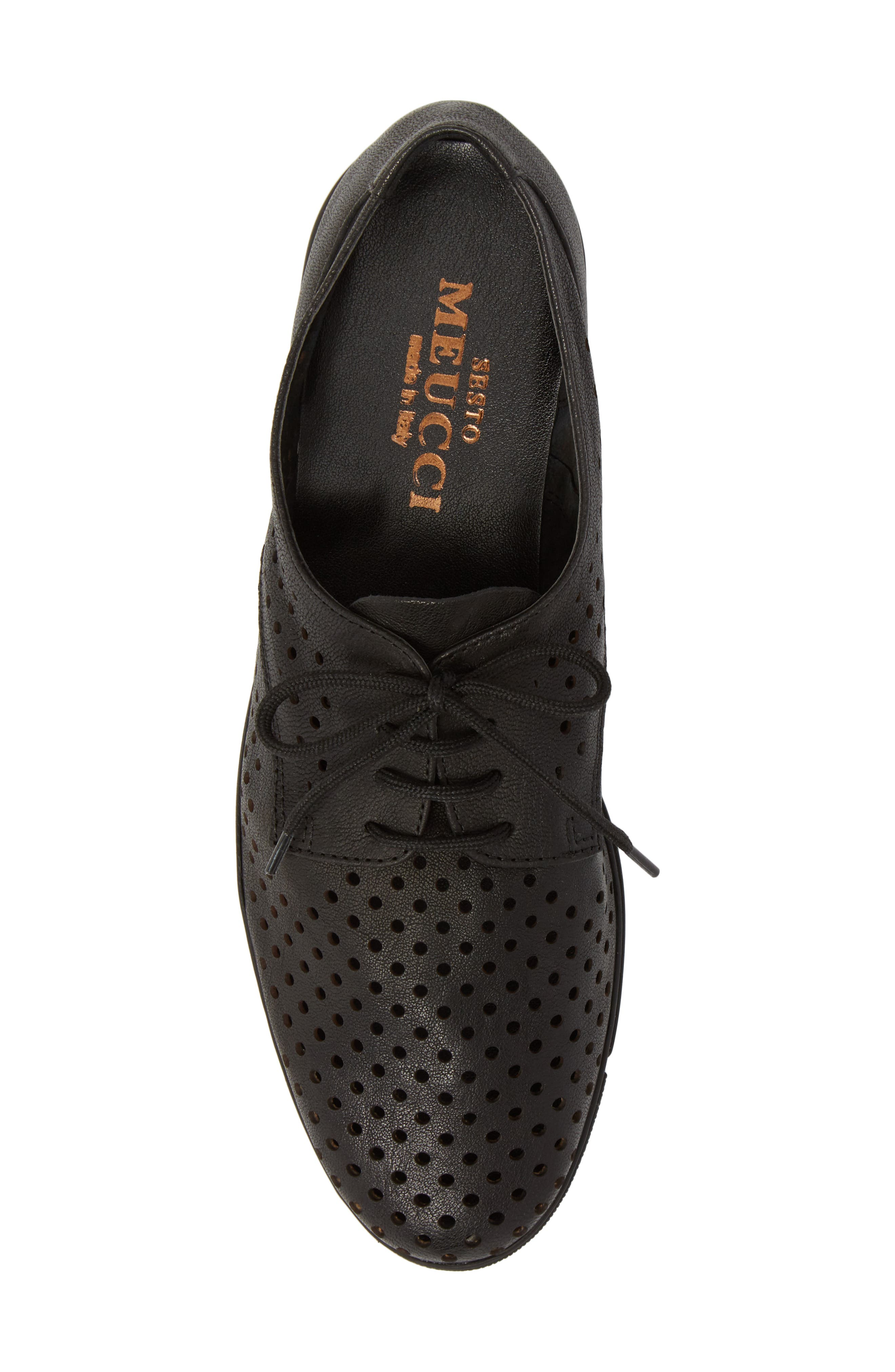 Dirce Perforated Oxford Flat,                             Alternate thumbnail 5, color,                             Black Leather