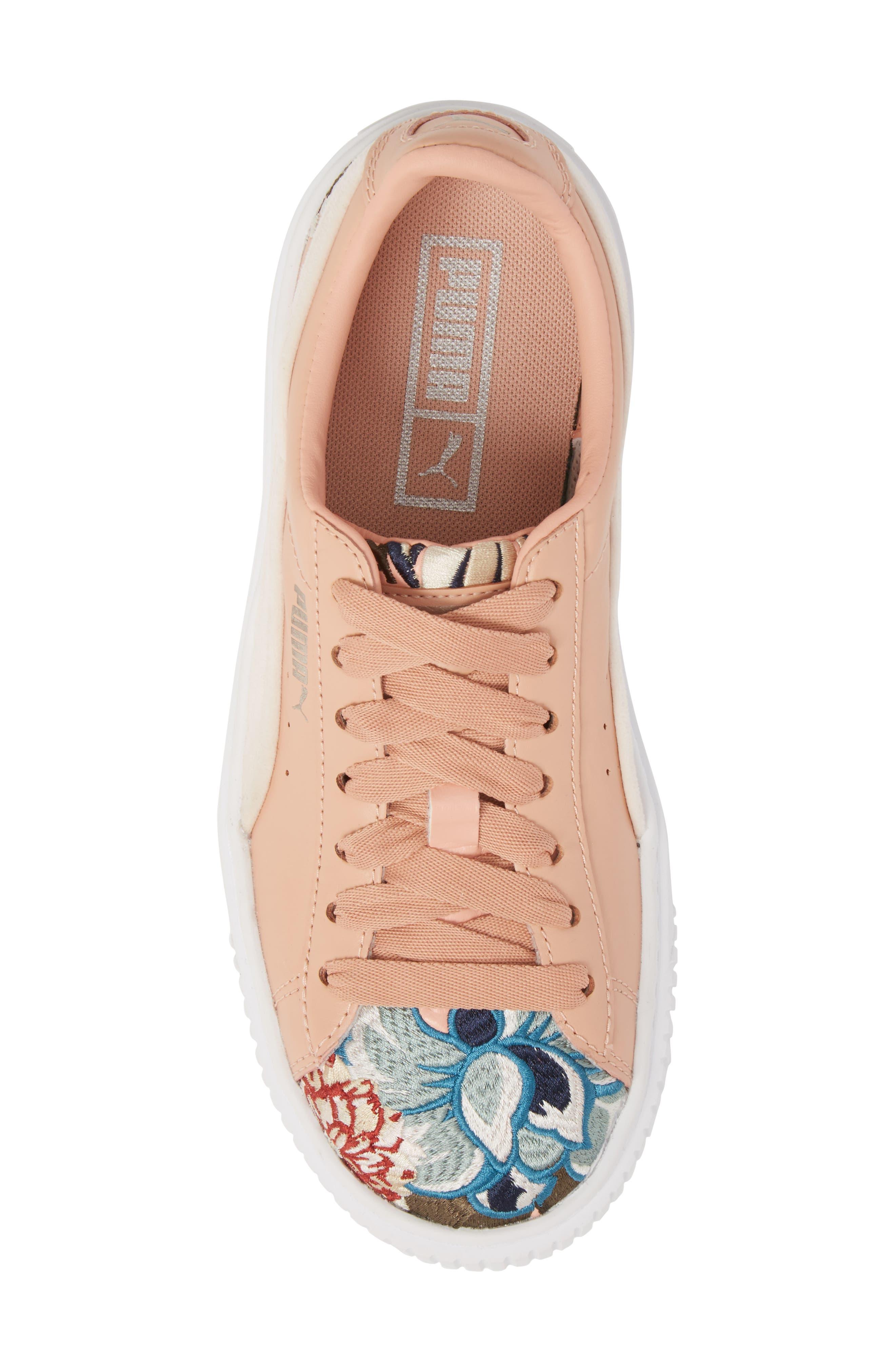 Platform Hyper Embroidered Sneaker,                             Alternate thumbnail 5, color,                             Peach Beige