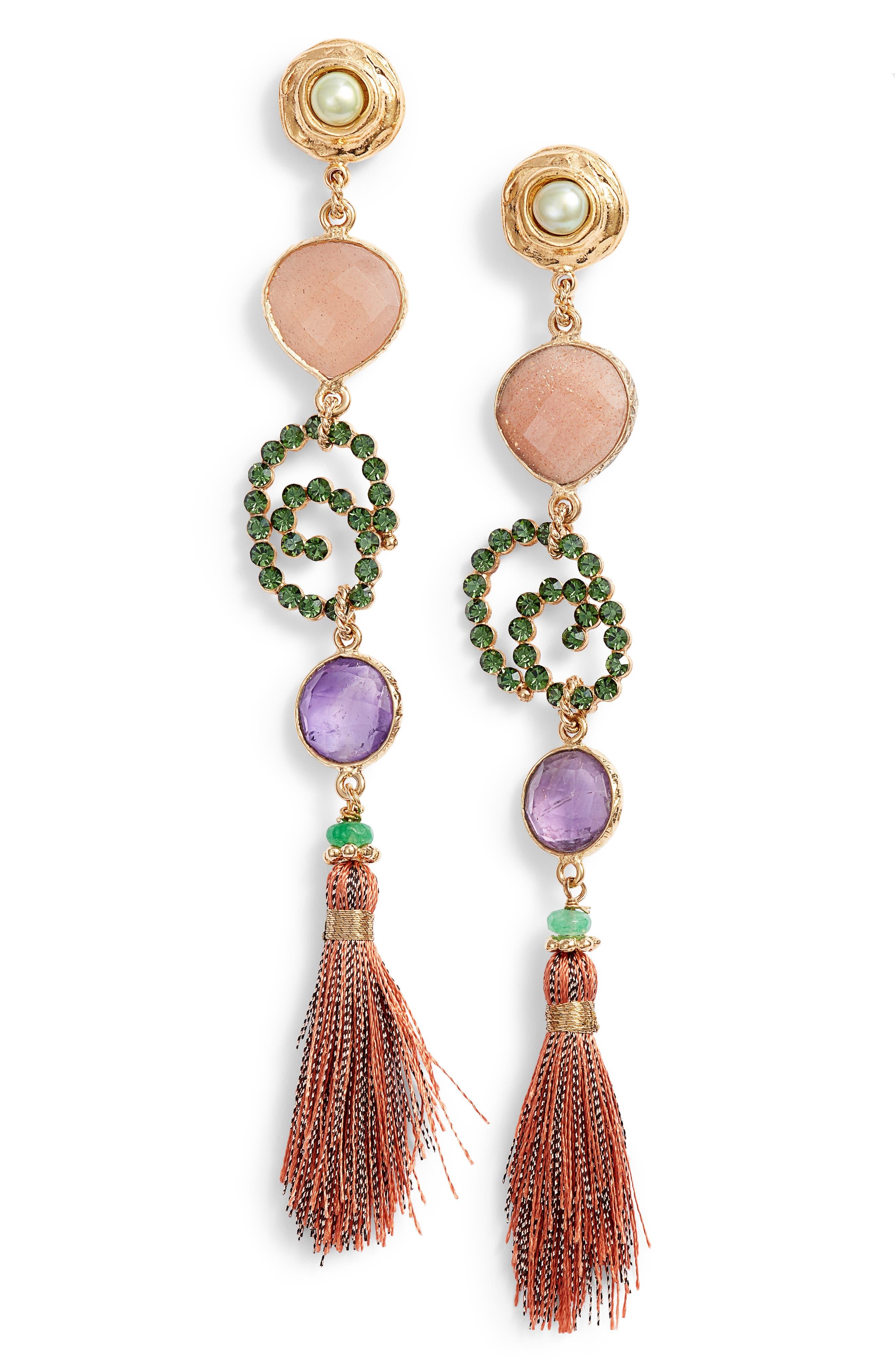 Semiprecious Stone Drop Earrings,                             Main thumbnail 1, color,                             Red Multi