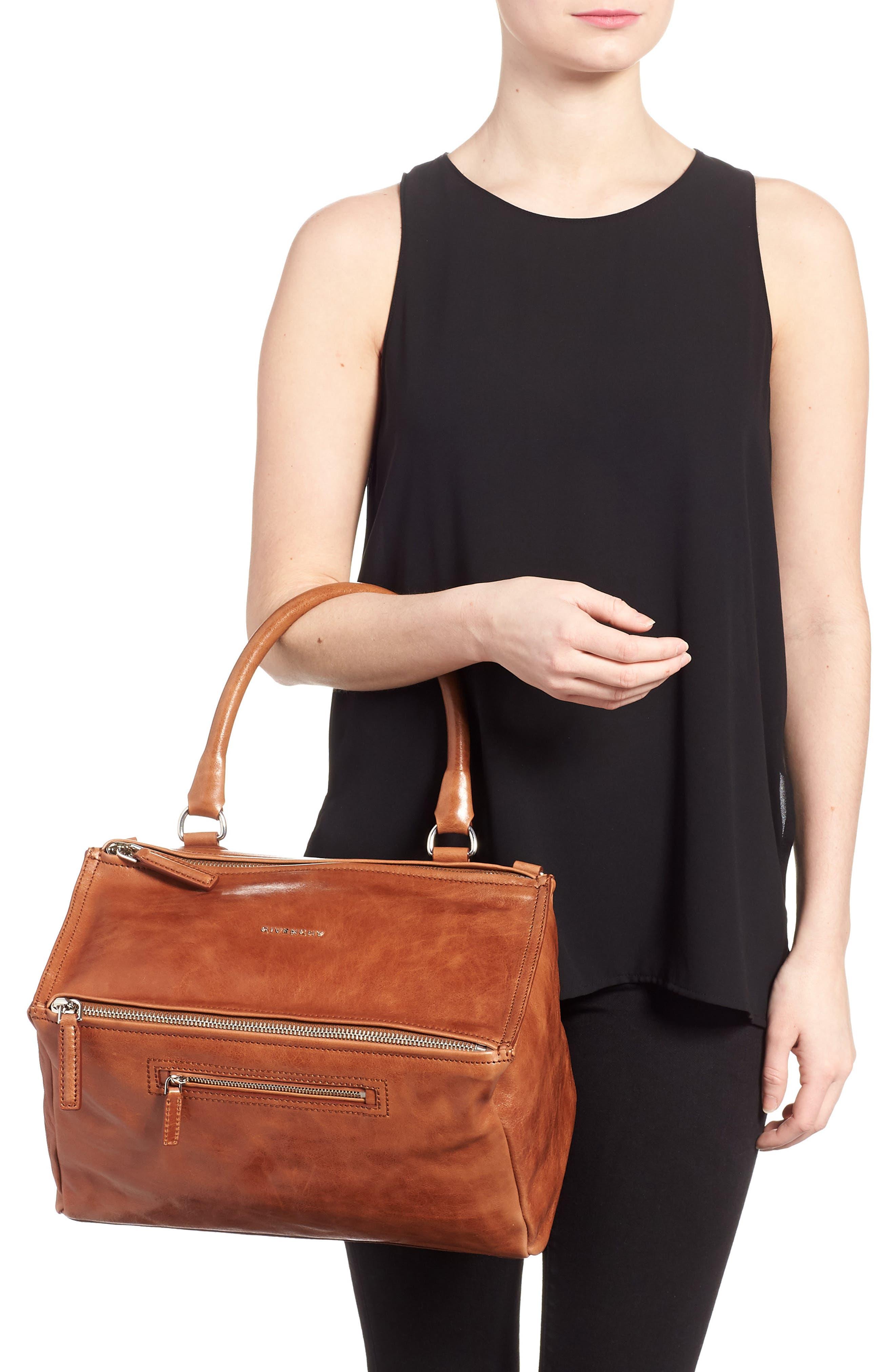 Medium Pandora Shiny Aged Leather Satchel,                             Alternate thumbnail 2, color,                             Cognac