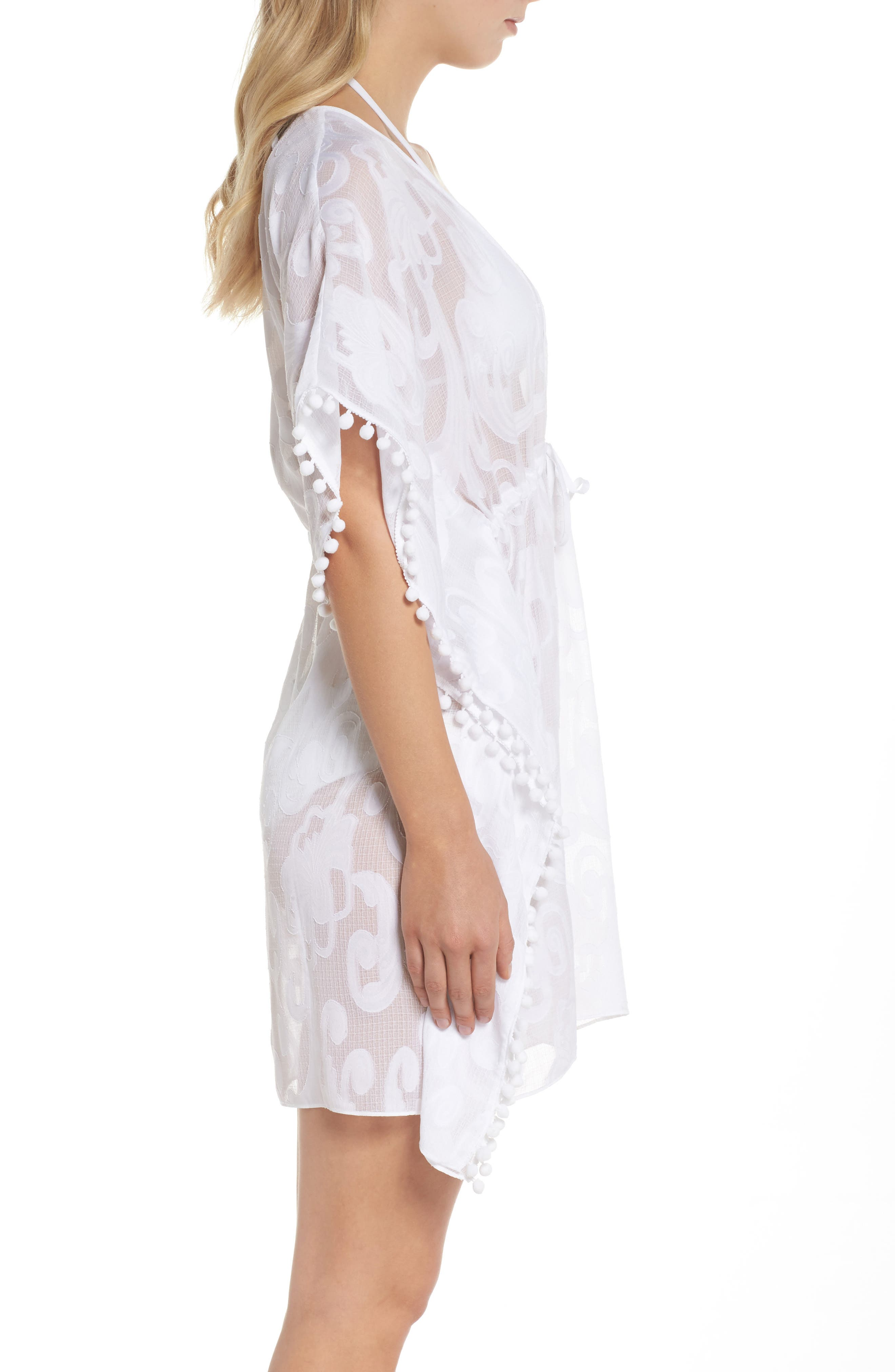 Gardenia Cover-Up,                             Alternate thumbnail 3, color,                             Resort White Poly Crepe Swirl