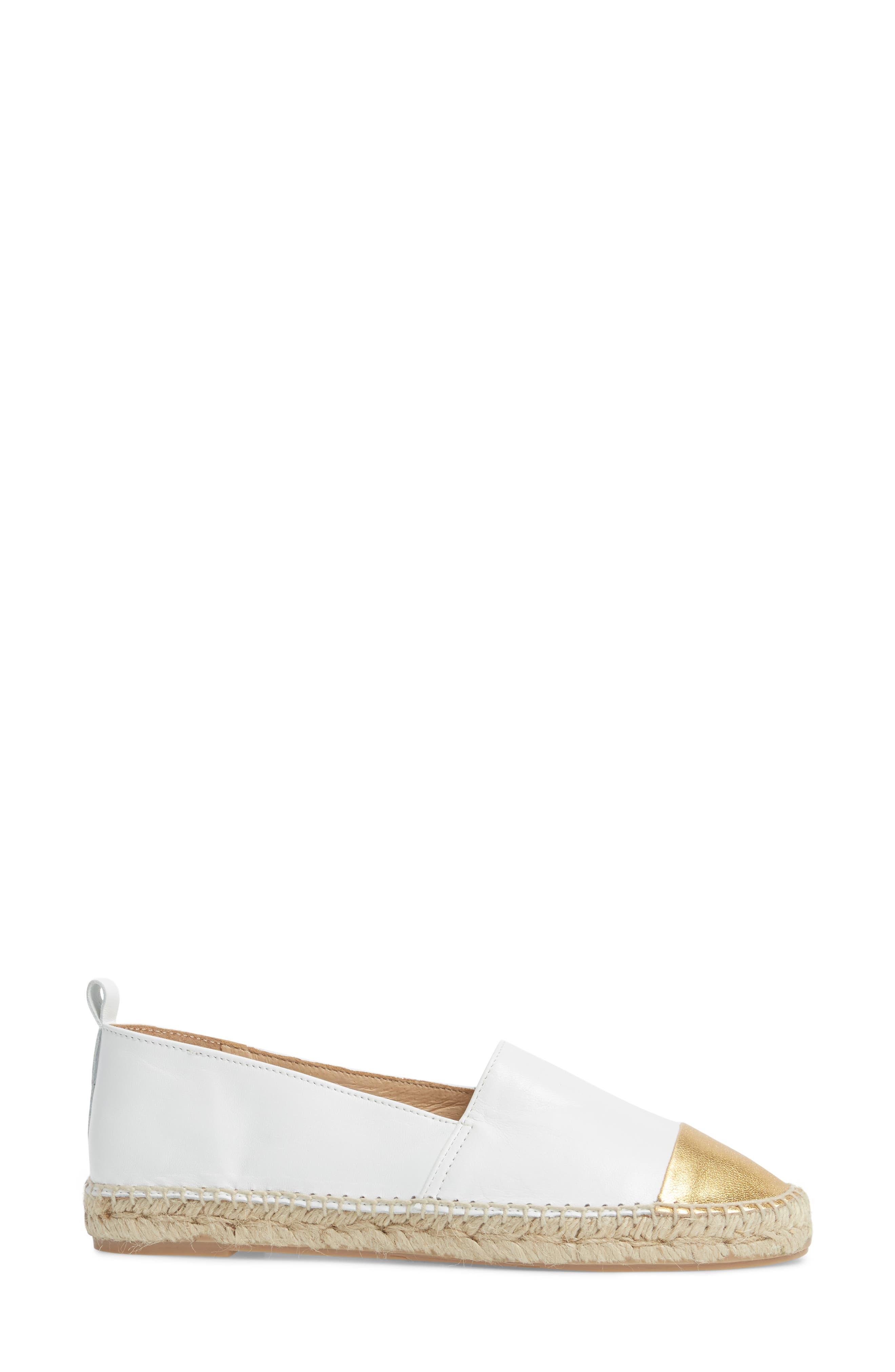 Lynn Cap Toe Espadrille,                             Alternate thumbnail 3, color,                             White/ Gold Leather