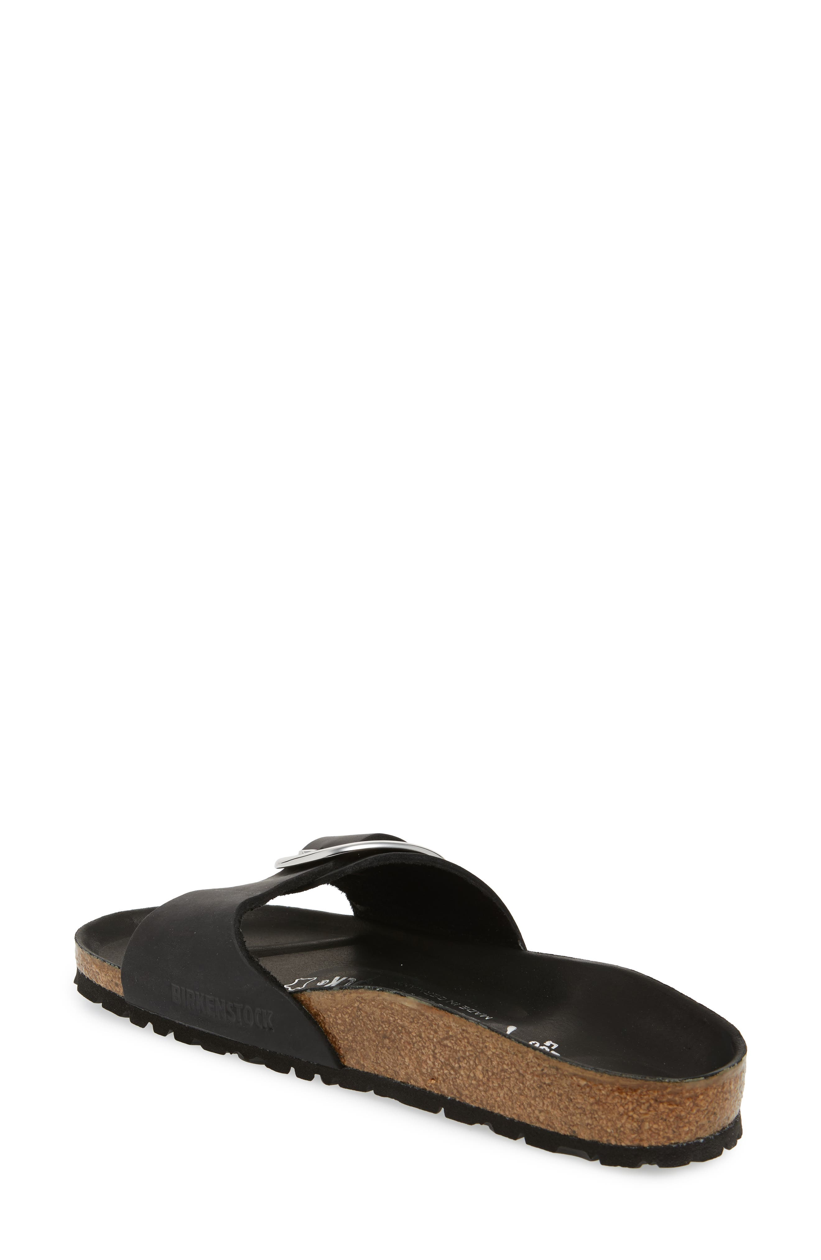 Madrid Big Buckle Slide Sandal,                             Alternate thumbnail 2, color,                             Black Leather