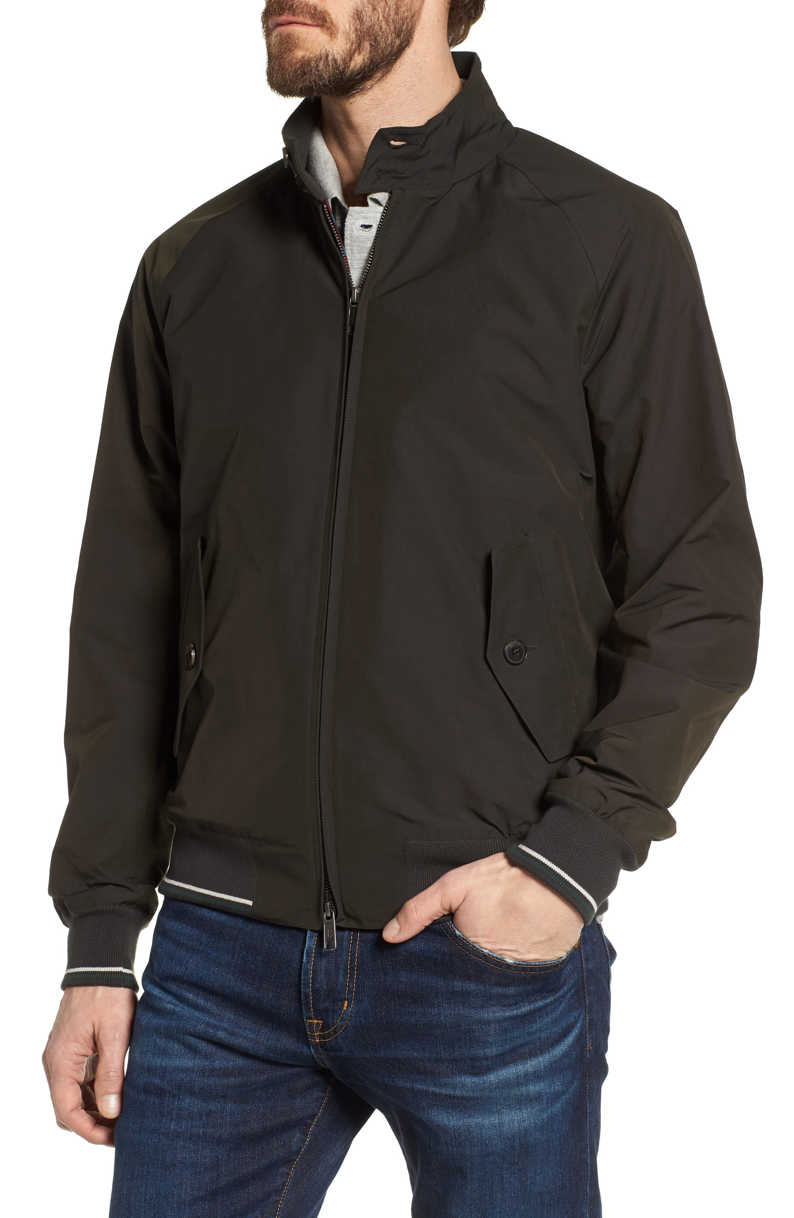 G9 Varsity Stripe Water Resistant Jacket,                             Alternate thumbnail 4, color,                             Faded Black