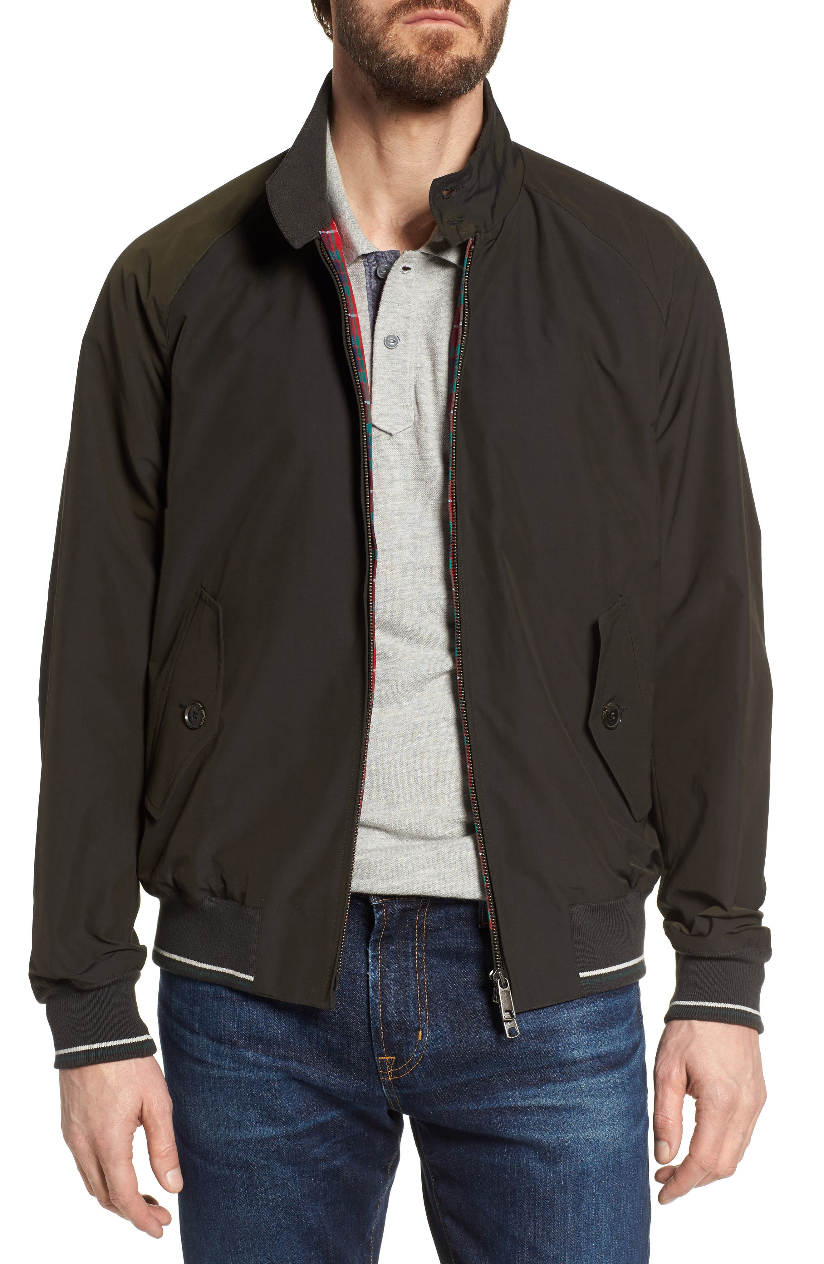 G9 Varsity Stripe Water Resistant Jacket,                         Main,                         color, Faded Black