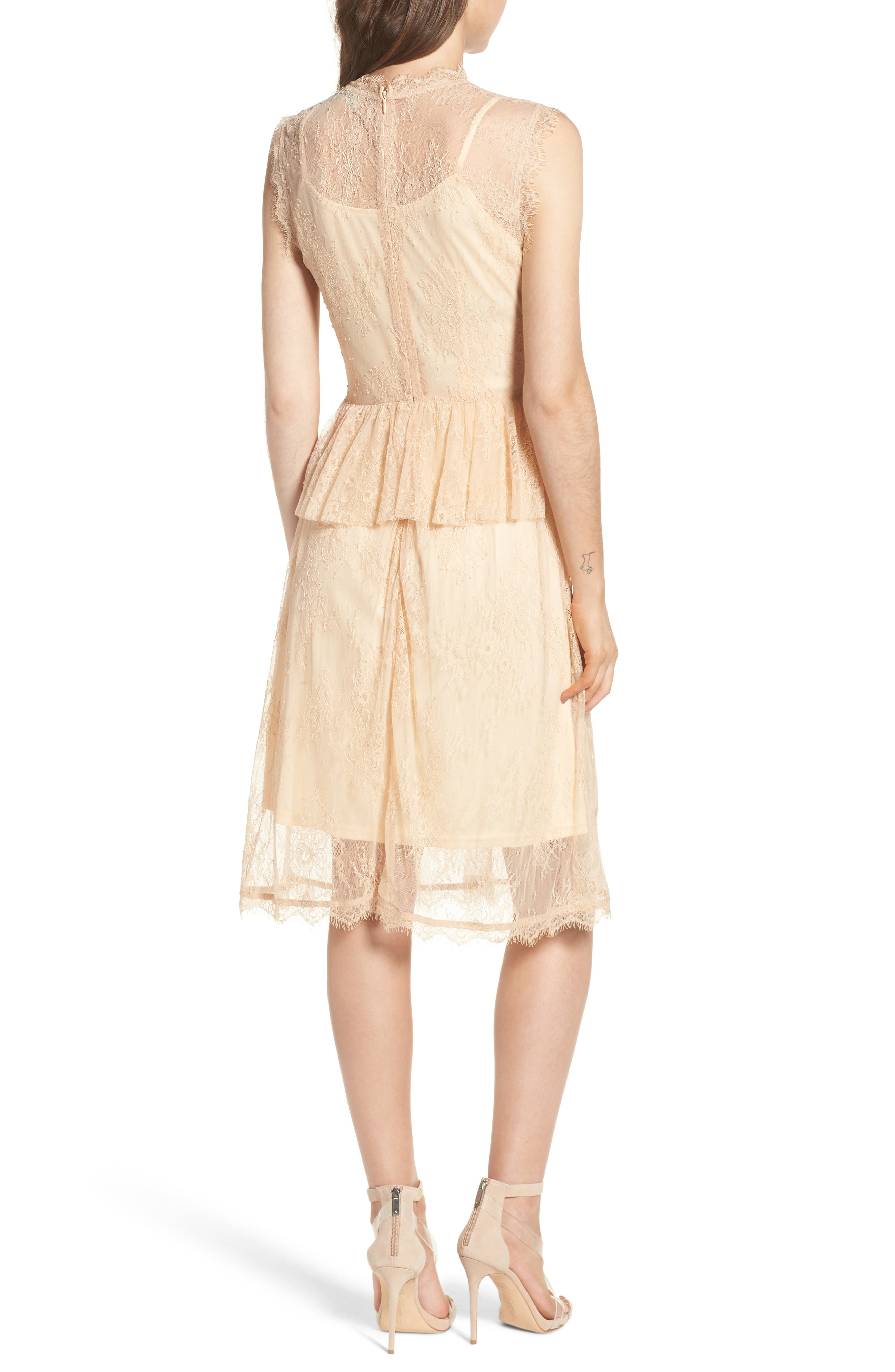 Lace Fit & Flare Dress,                             Alternate thumbnail 2, color,                             Nude