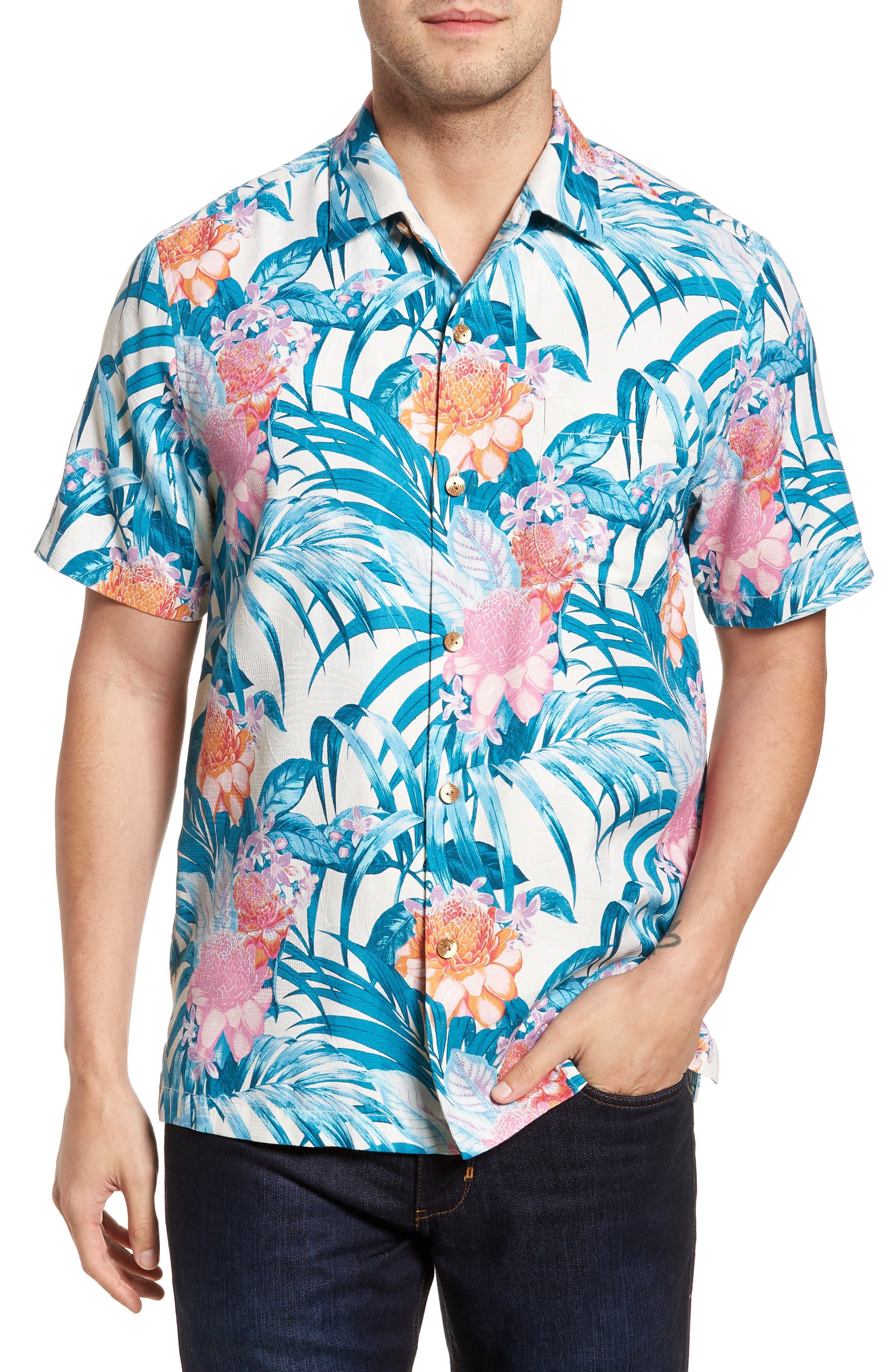 Garden of Hope and Courage Regular Fit Silk Blend Camp Shirt,                         Main,                         color, Coconut Cream