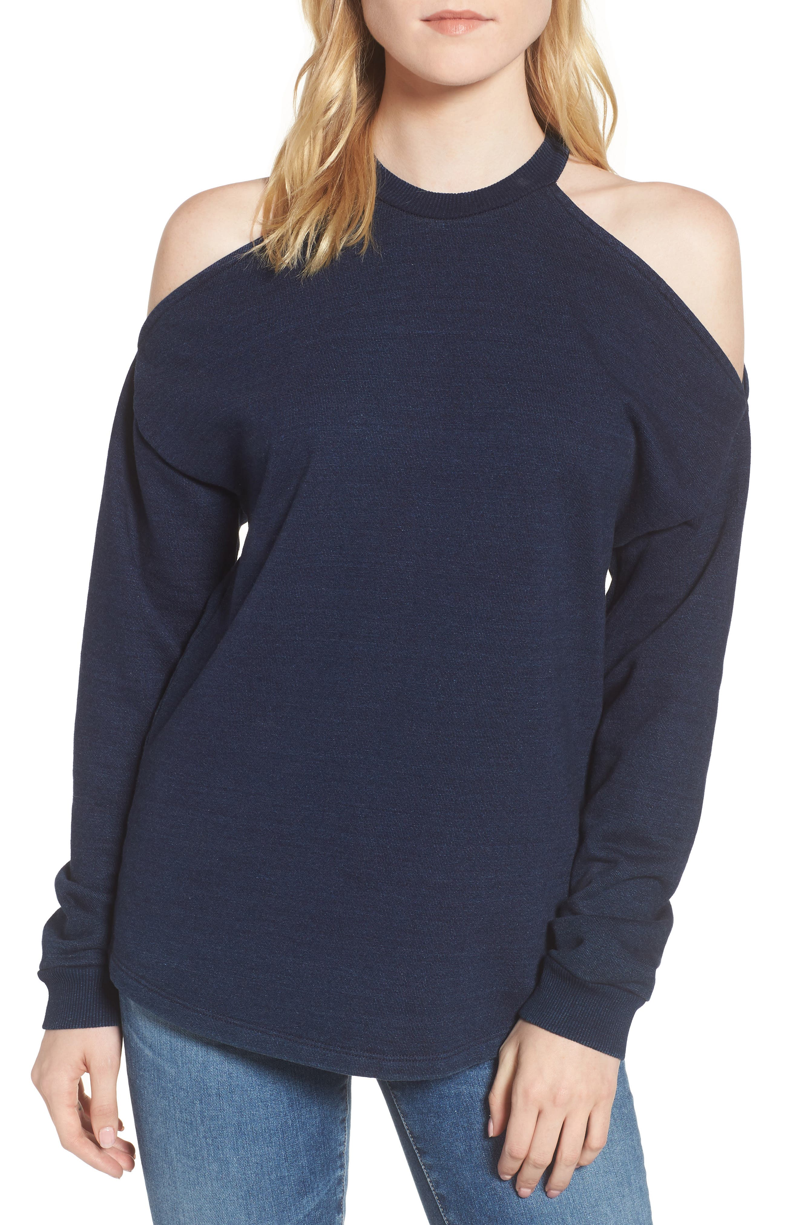 Gizi Cold Shoulder Sweatshirt,                             Main thumbnail 1, color,                             Blue River