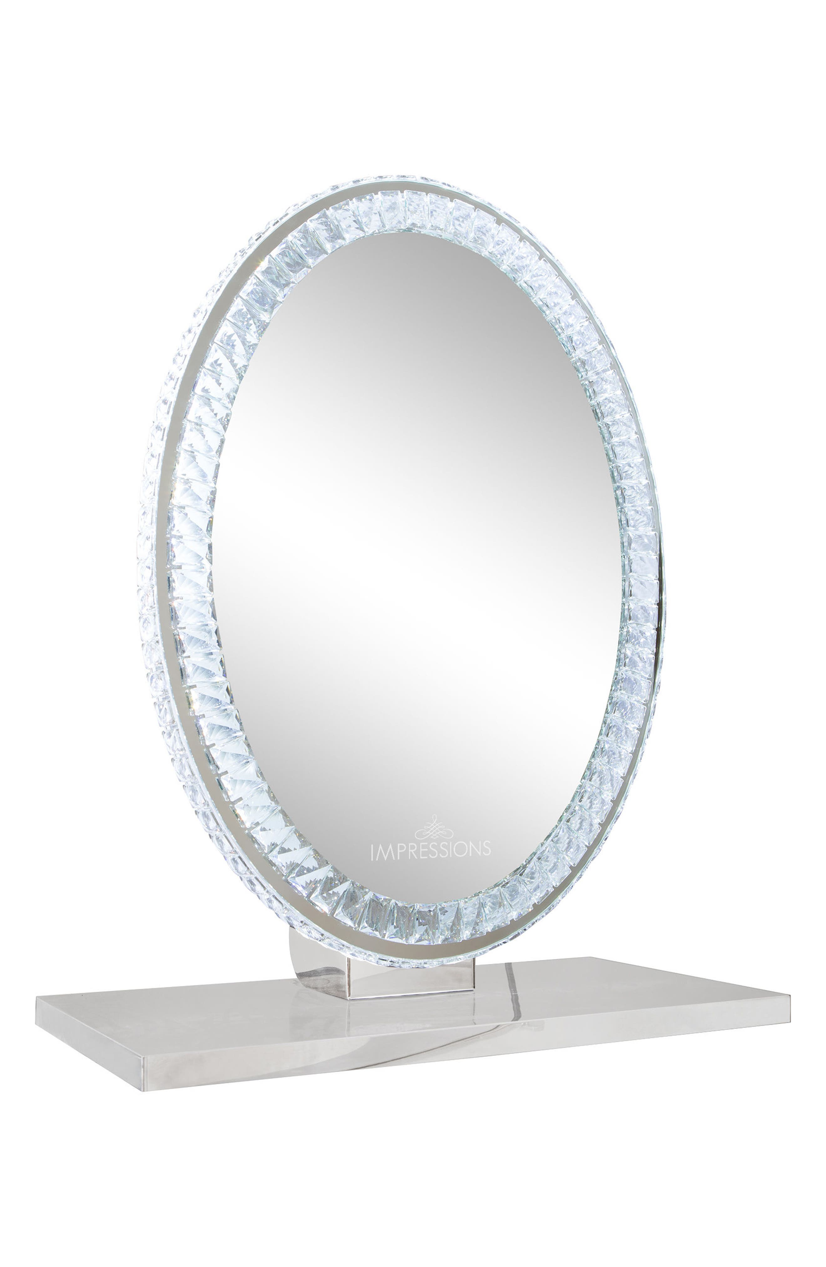 Diamond Collection Oval LED Vanity Mirror,                             Main thumbnail 1, color,                             Clear