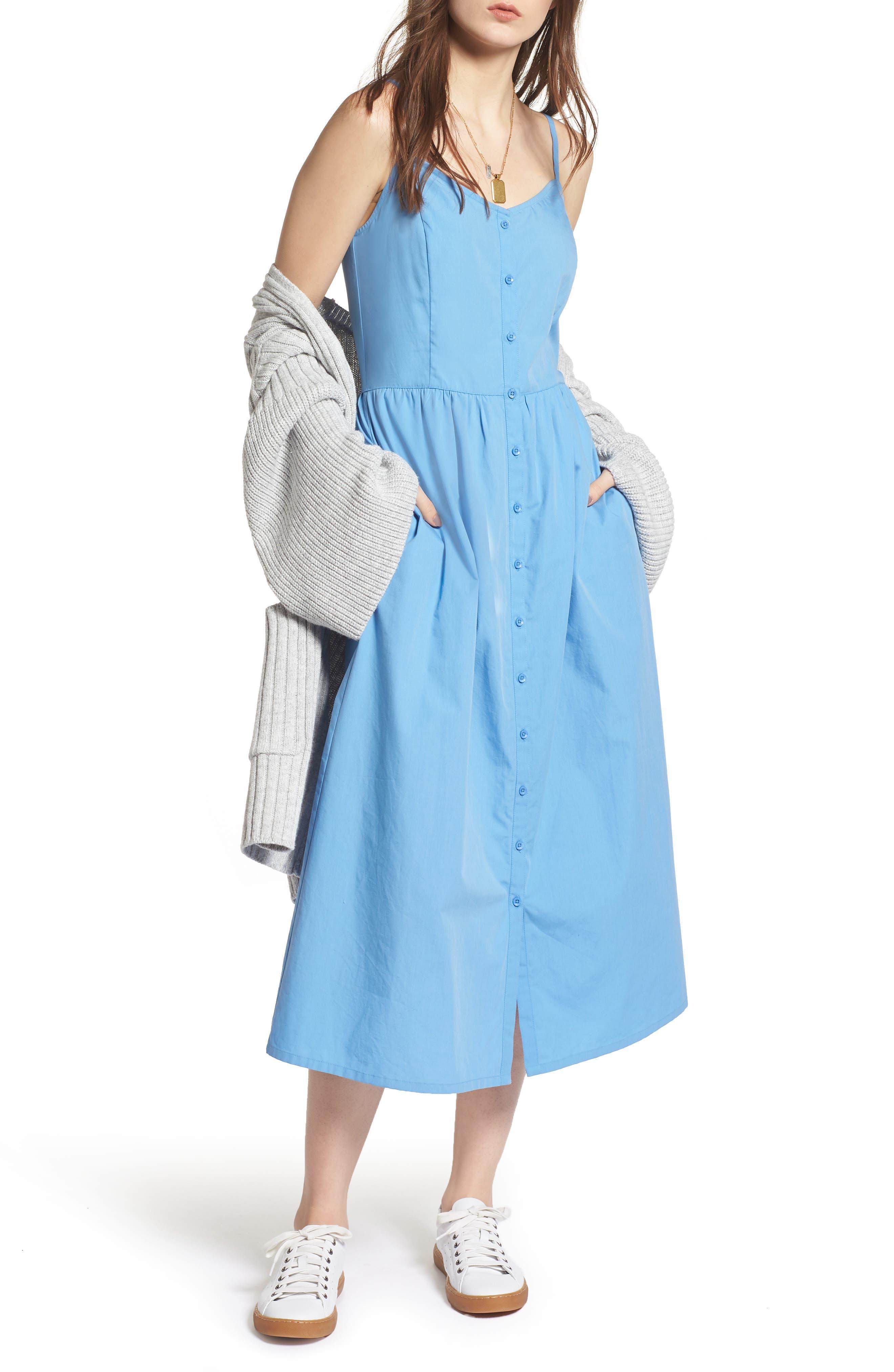 Button Front Midi Dress,                         Main,                         color, Blue Lake
