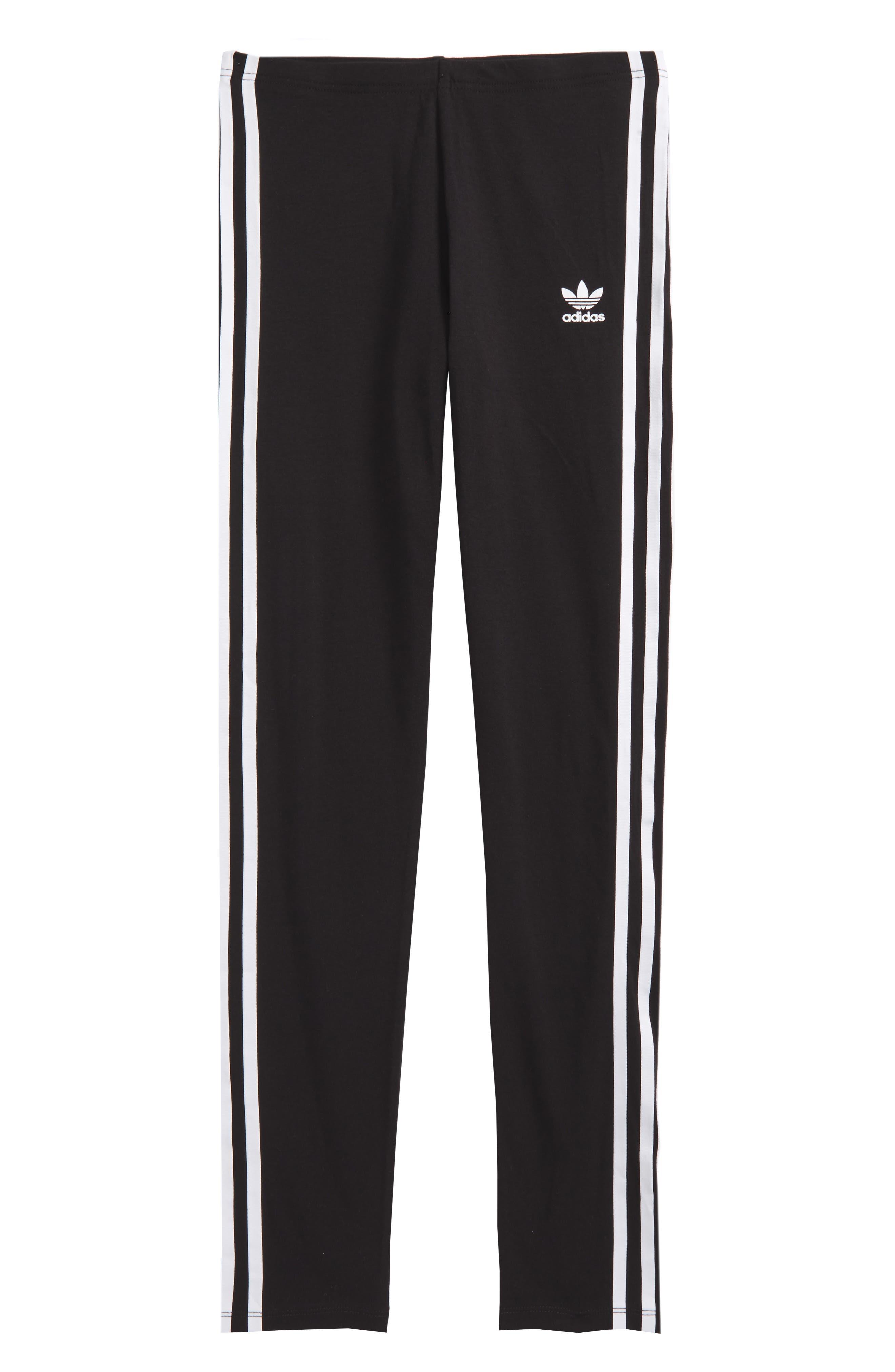 adidas 3-Stripes Leggings,                             Main thumbnail 1, color,                             Black / White