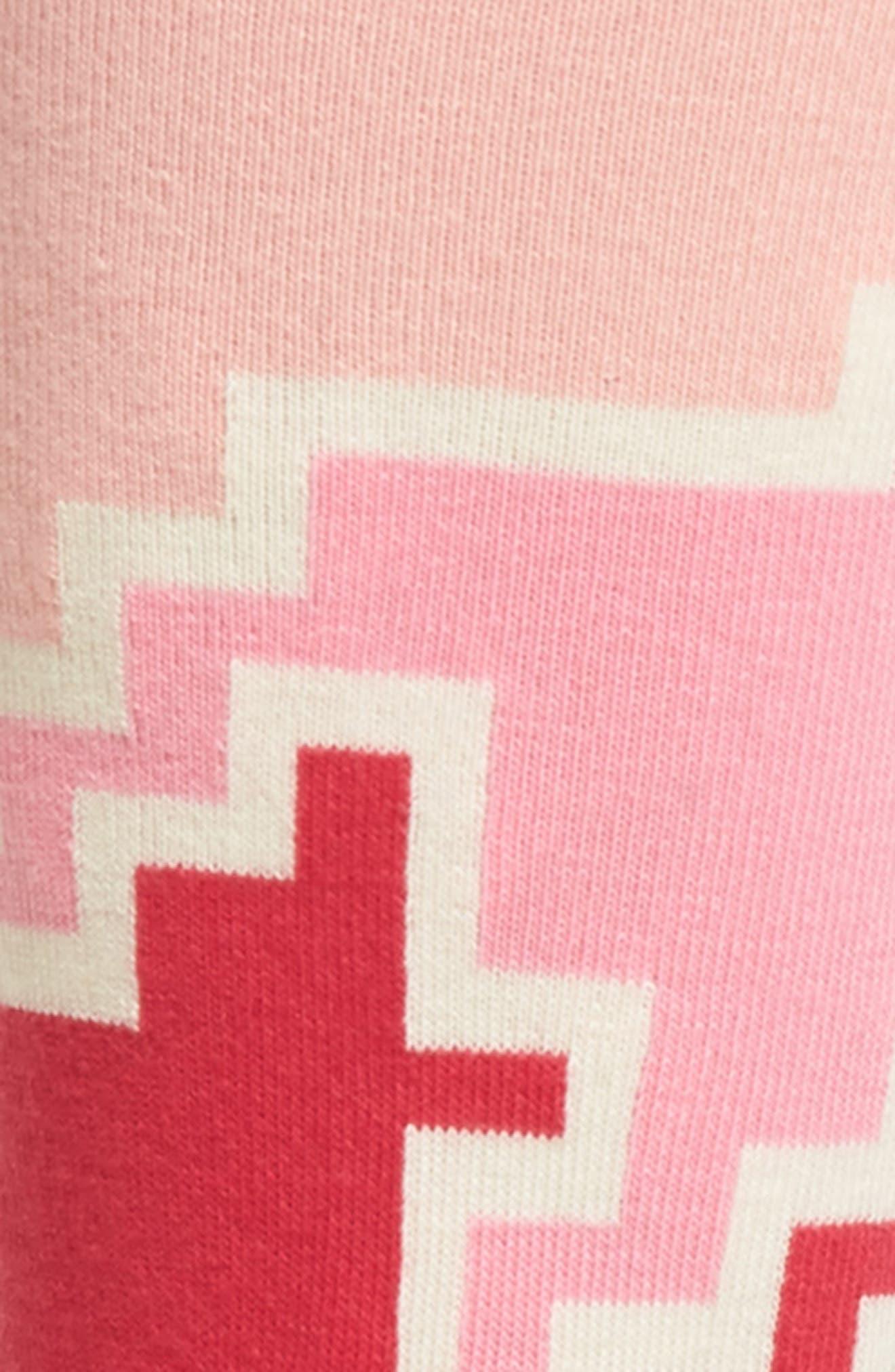 Geo Block Crew Socks,                             Alternate thumbnail 2, color,                             Pink