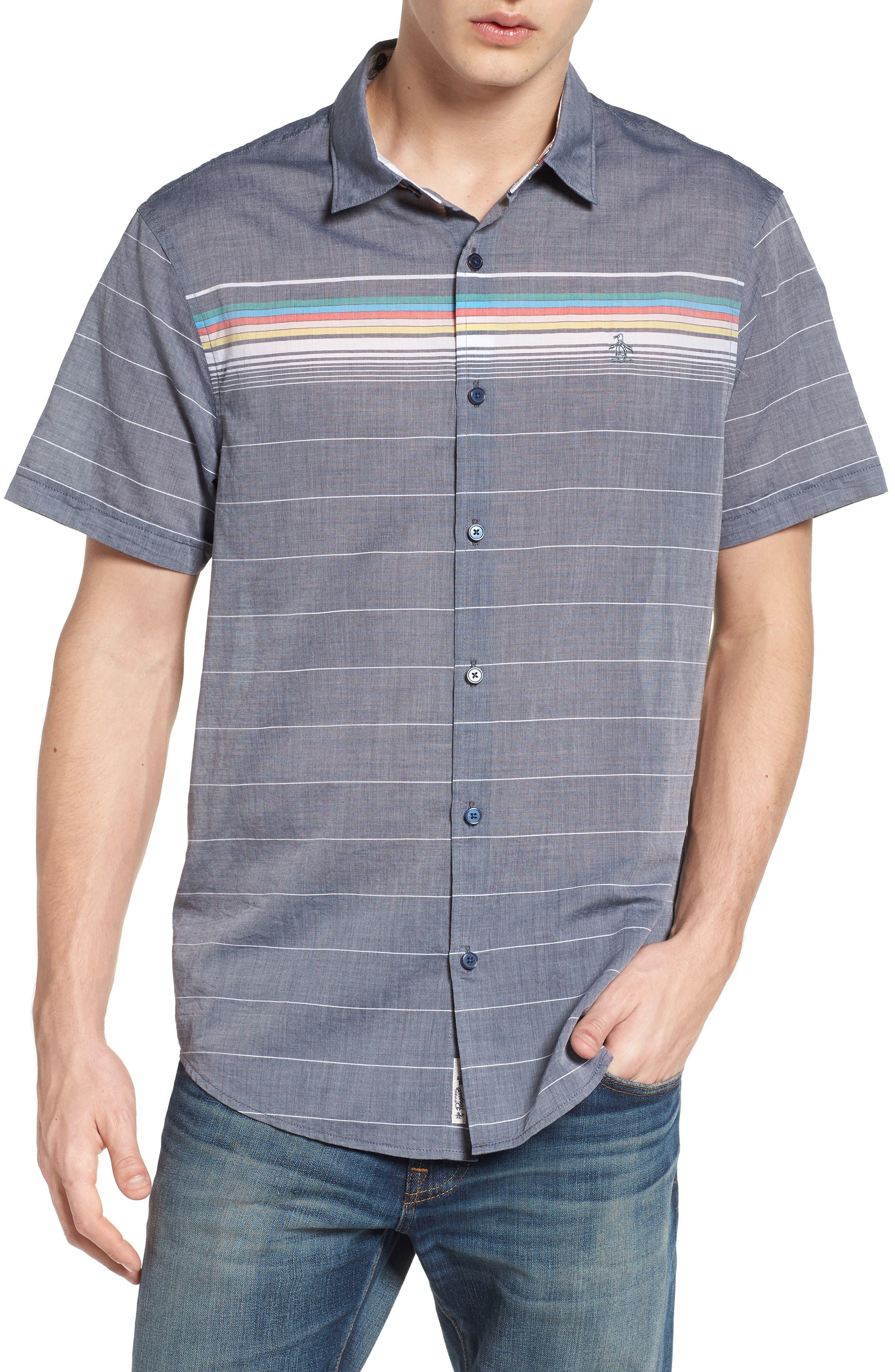 Engineered Stripe Woven Shirt,                             Main thumbnail 1, color,                             Dark Sapphire