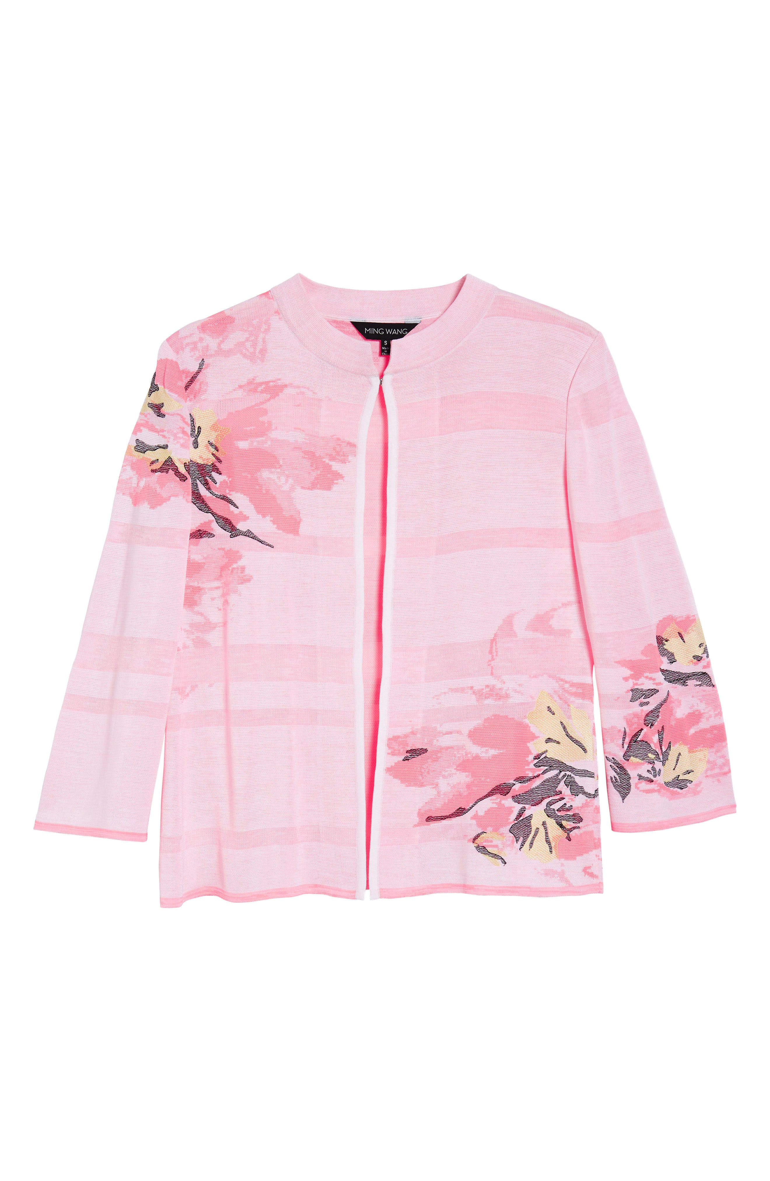 Floral Knit Jacket,                             Alternate thumbnail 6, color,                             Multi