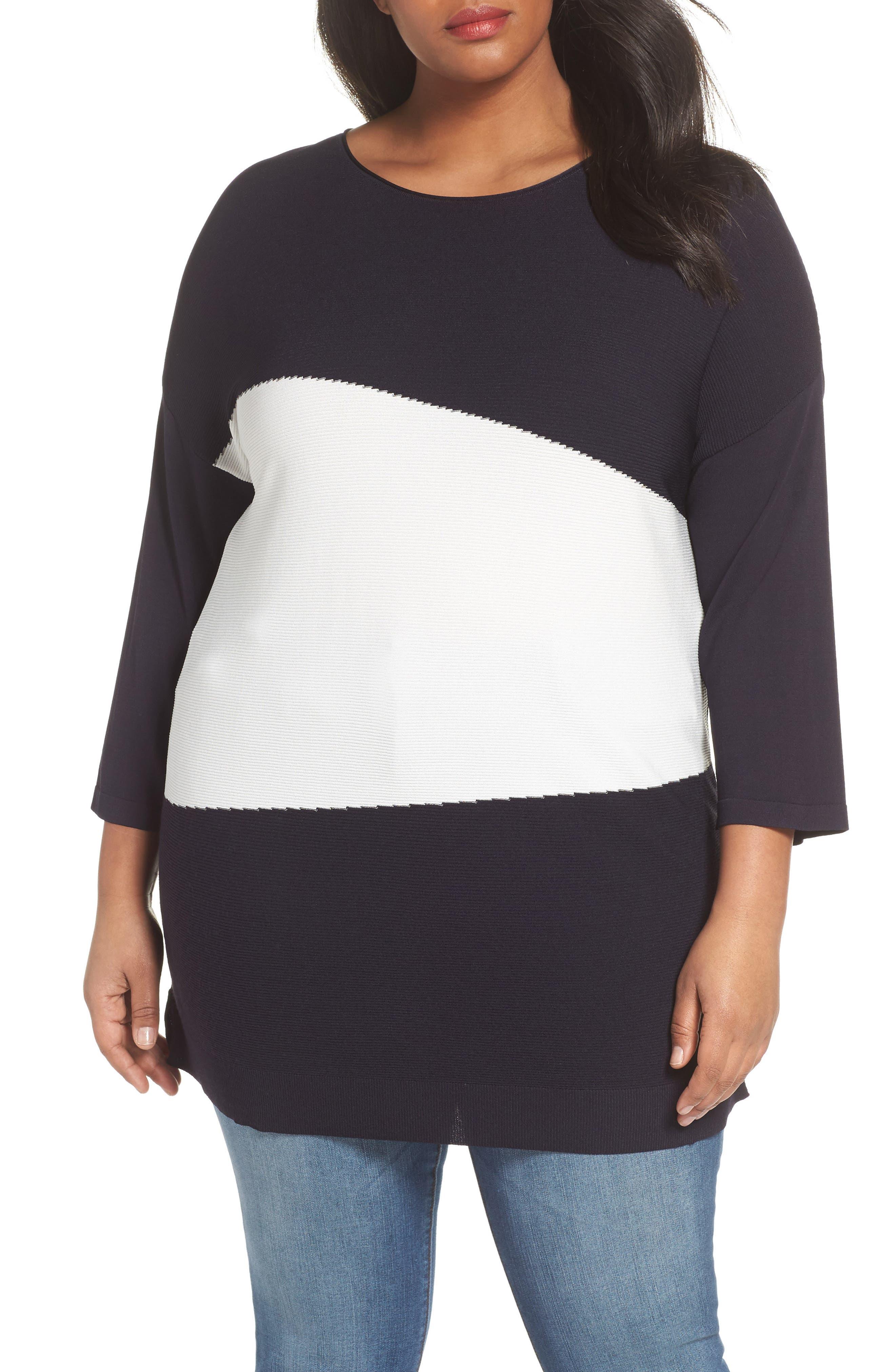 Color Block Sweater,                             Main thumbnail 1, color,                             Dark Navy