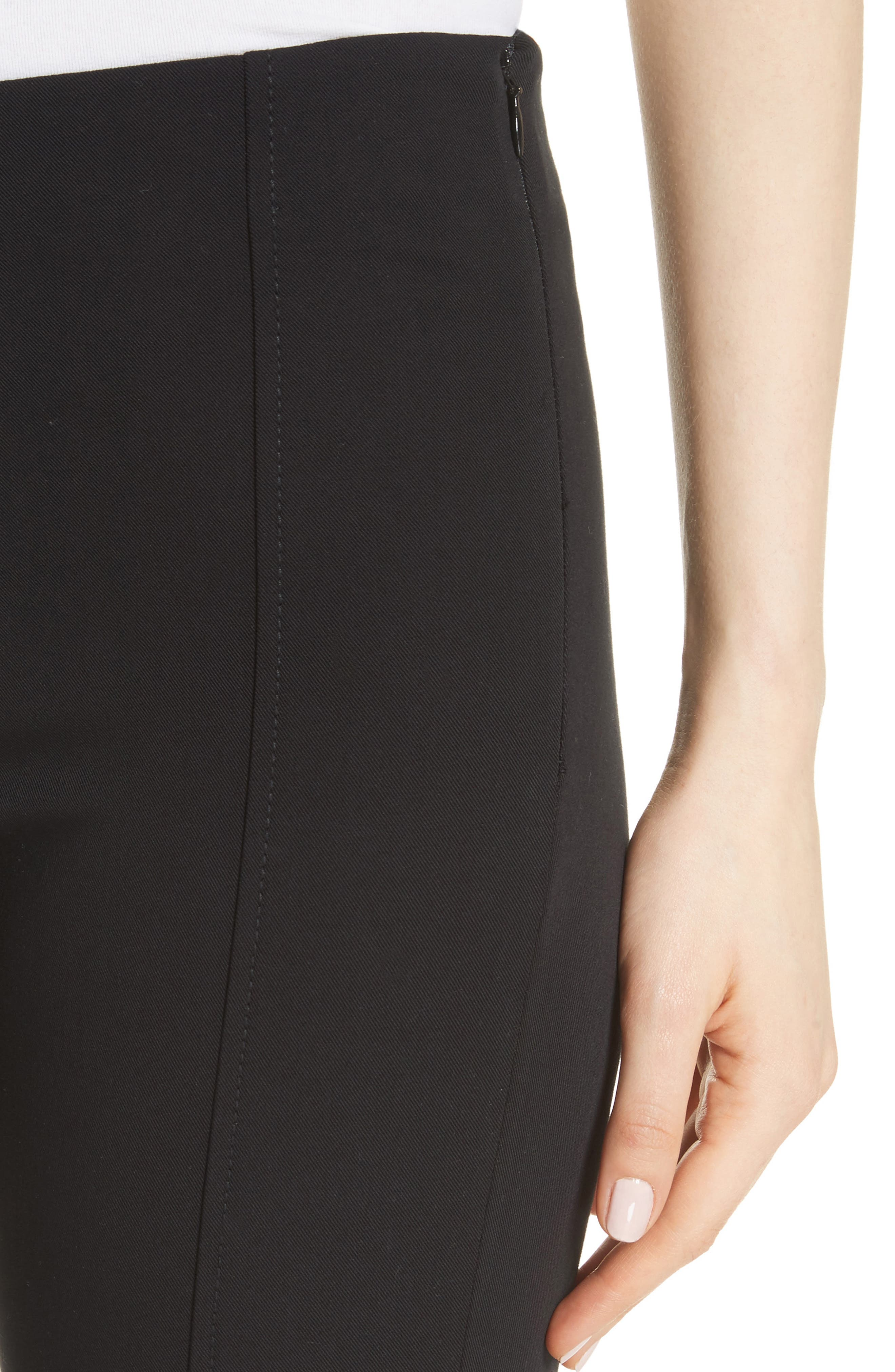 Lenny Slim Stretch Cotton Pants,                             Alternate thumbnail 4, color,                             Black
