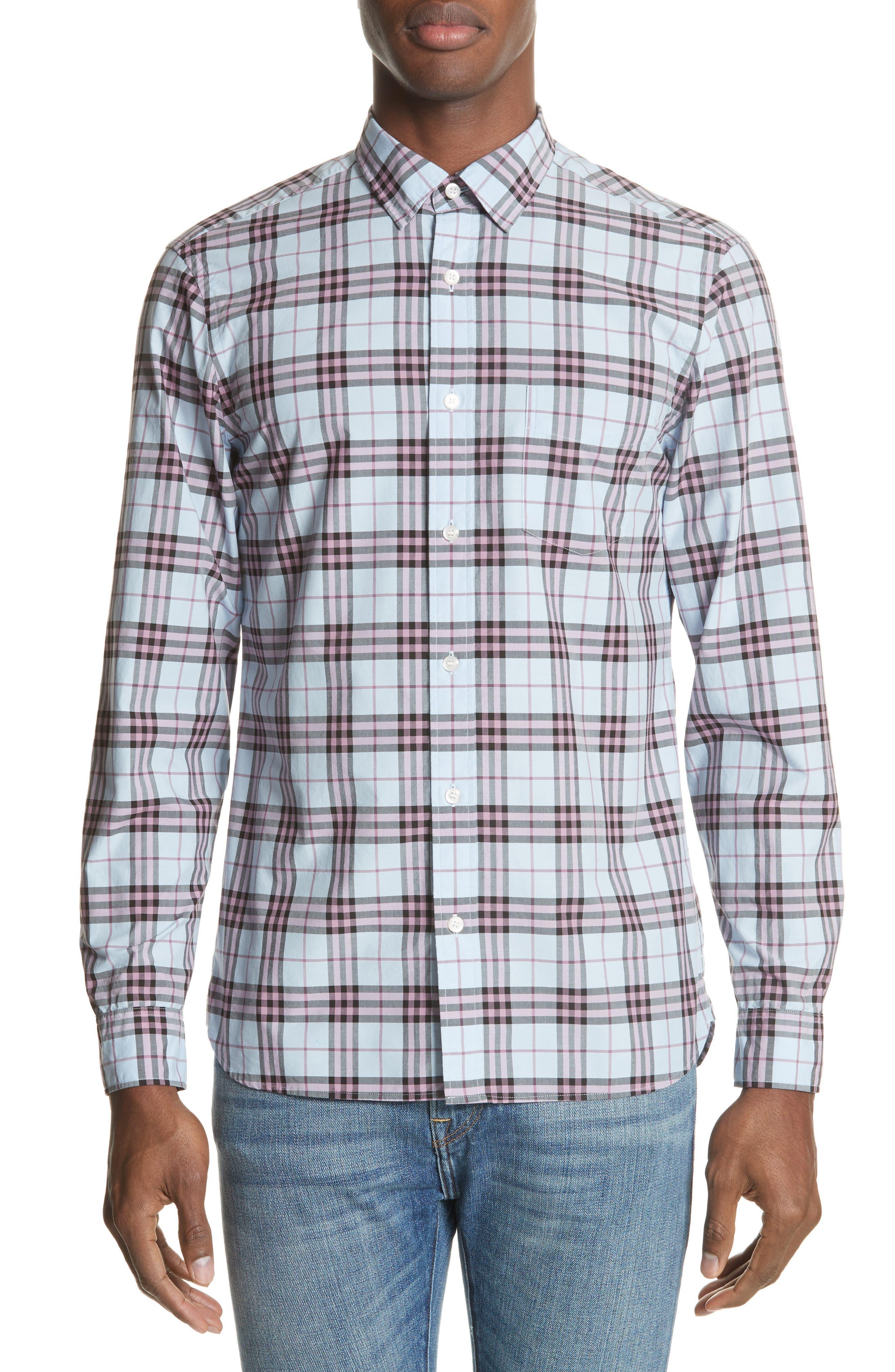 Alexander Standard Fit Check Sport Shirt,                         Main,                         color, Lavender Blue