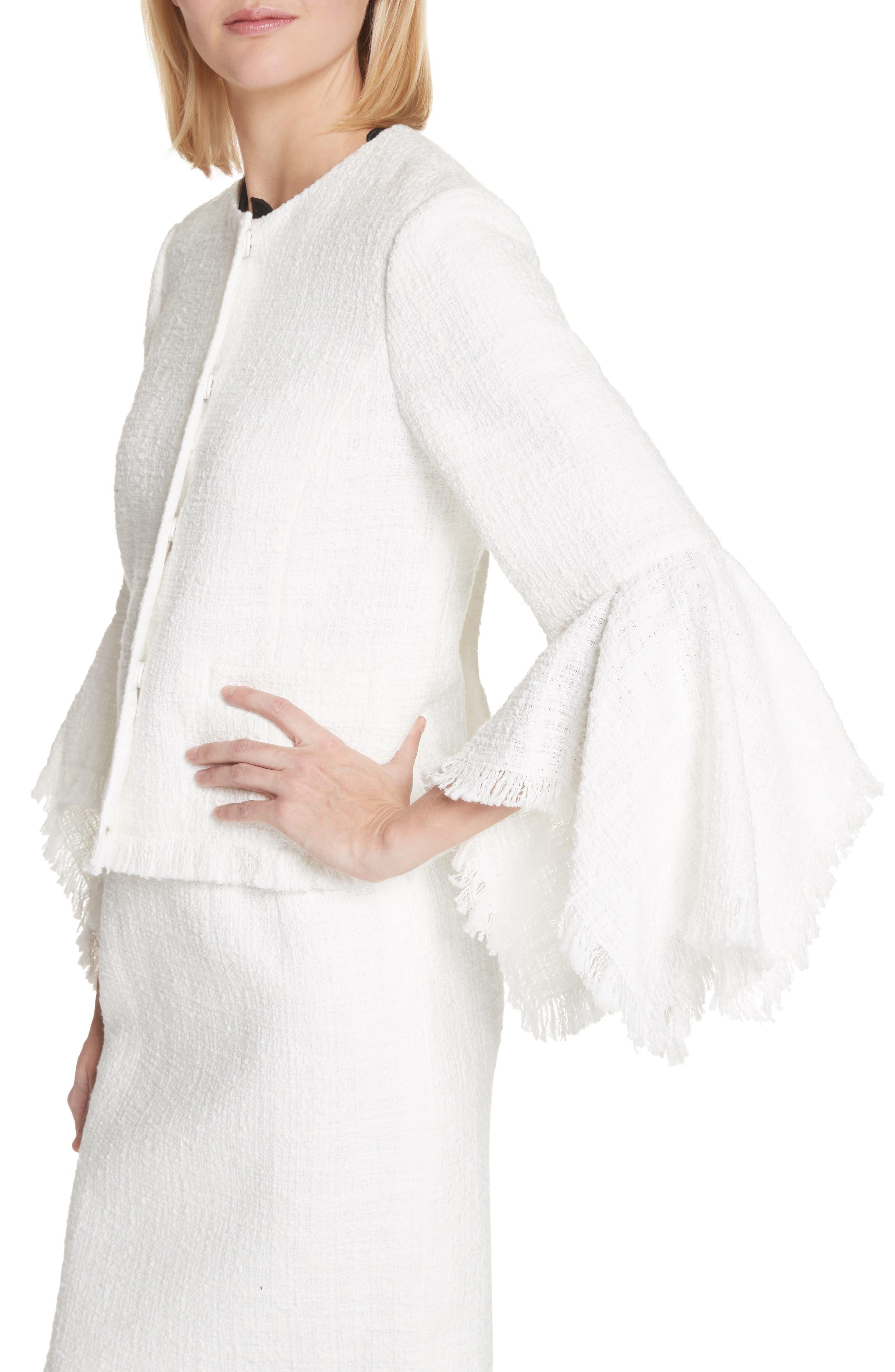 Ribbon Tweed Cascade Cuff Jacket,                             Alternate thumbnail 3, color,                             Ivory
