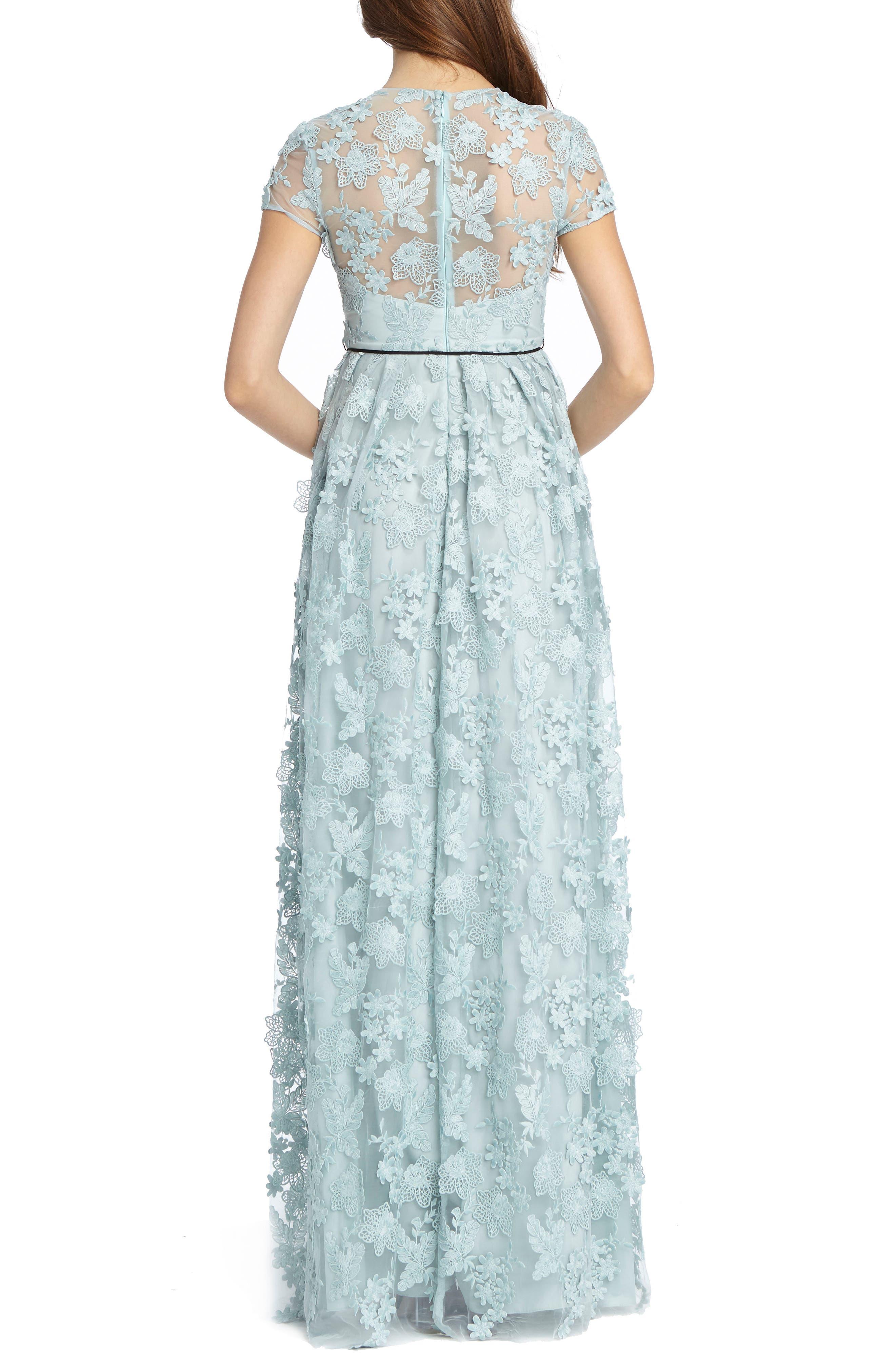 3D Floral Appliqué Gown,                             Alternate thumbnail 2, color,                             Sky