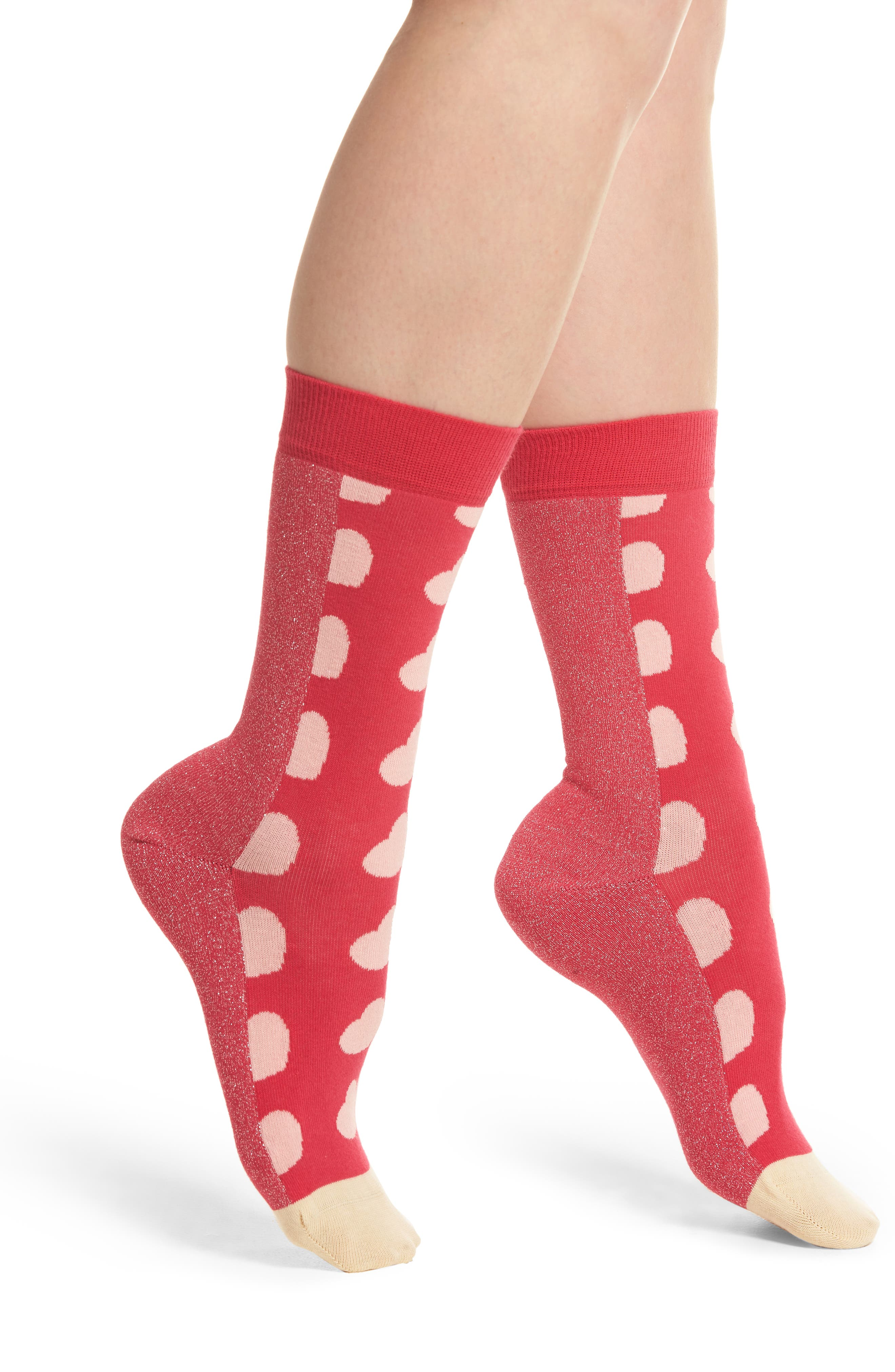 Metallic Heart Crew Socks,                         Main,                         color, Pink