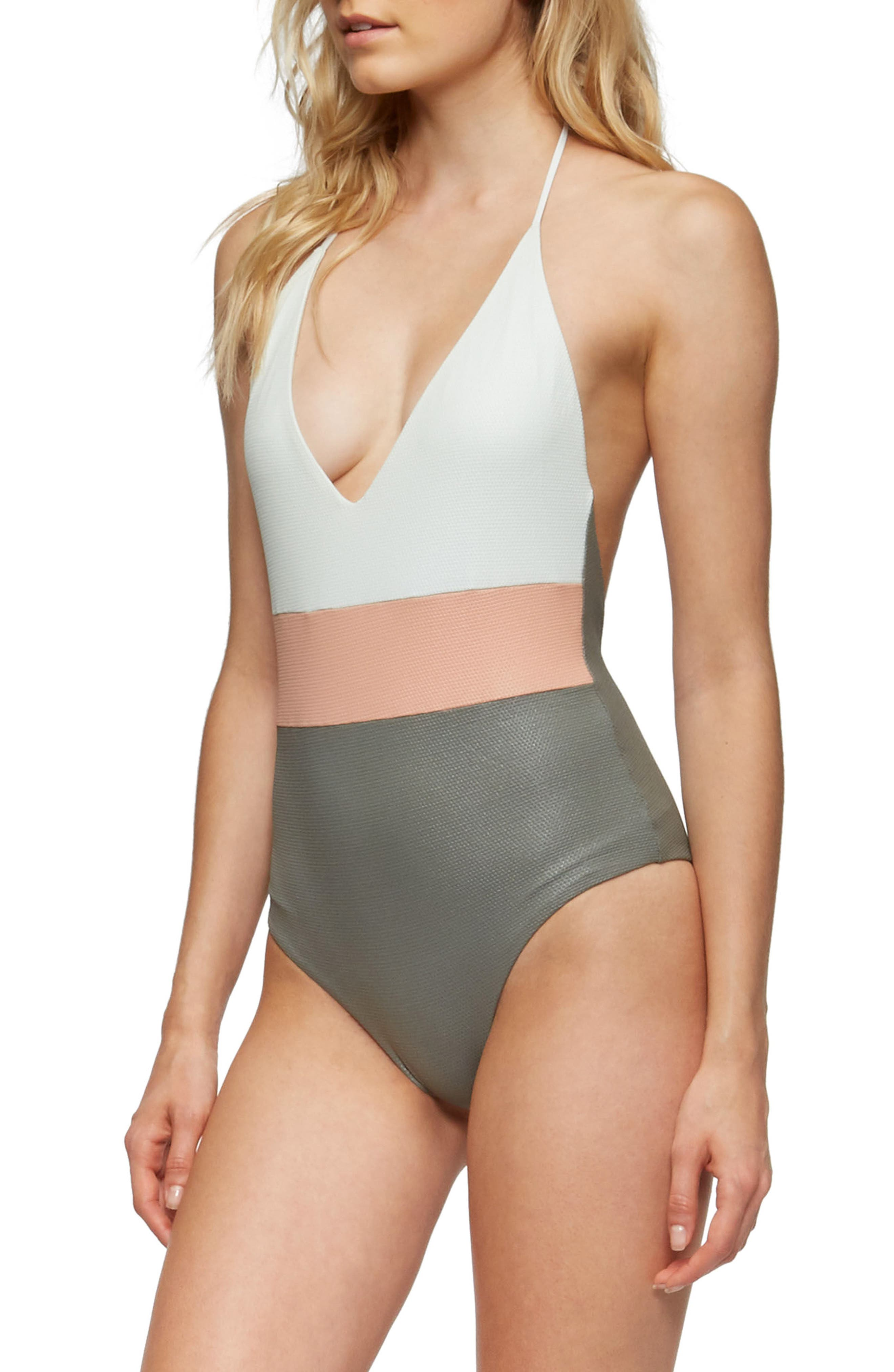 Chase Glossy One-Piece Swimsuit,                             Alternate thumbnail 3, color,                             Cove Grey