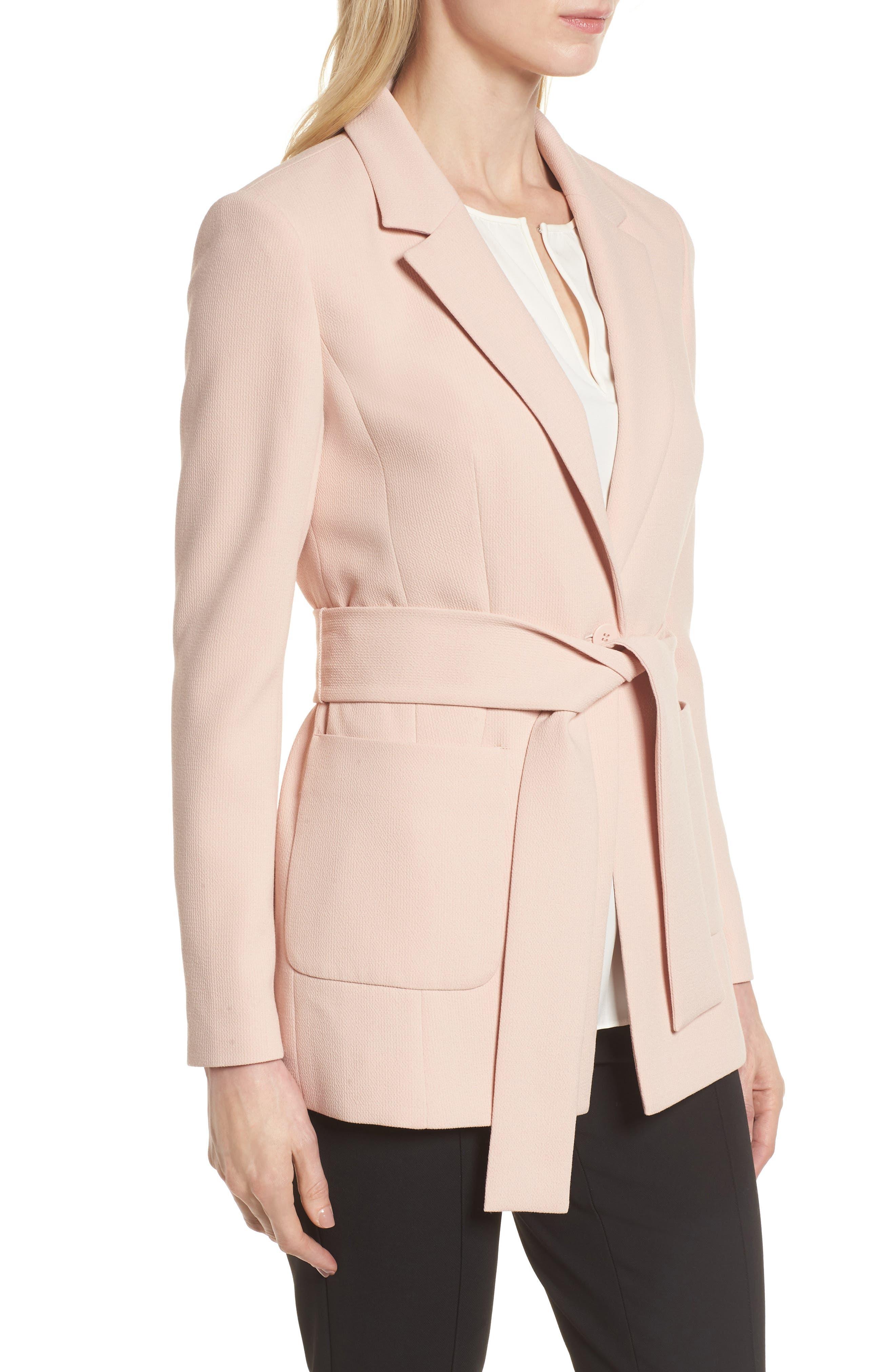 Tie Waist Suit Jacket,                             Alternate thumbnail 3, color,                             Pink Smoke