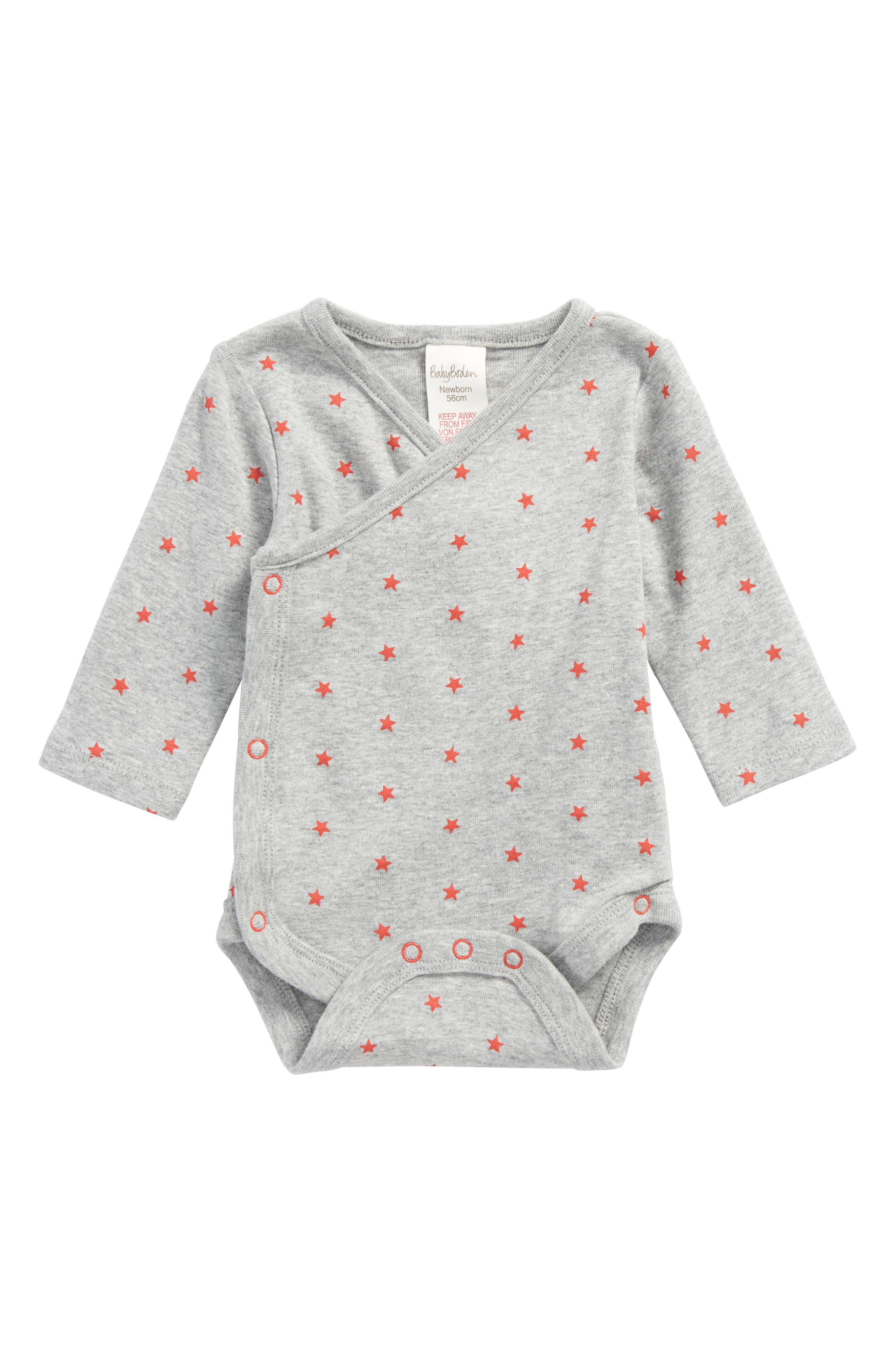 Fun Organic Cotton Wrap Bodysuit,                             Main thumbnail 1, color,                             Grey Marl/ Crayon Red