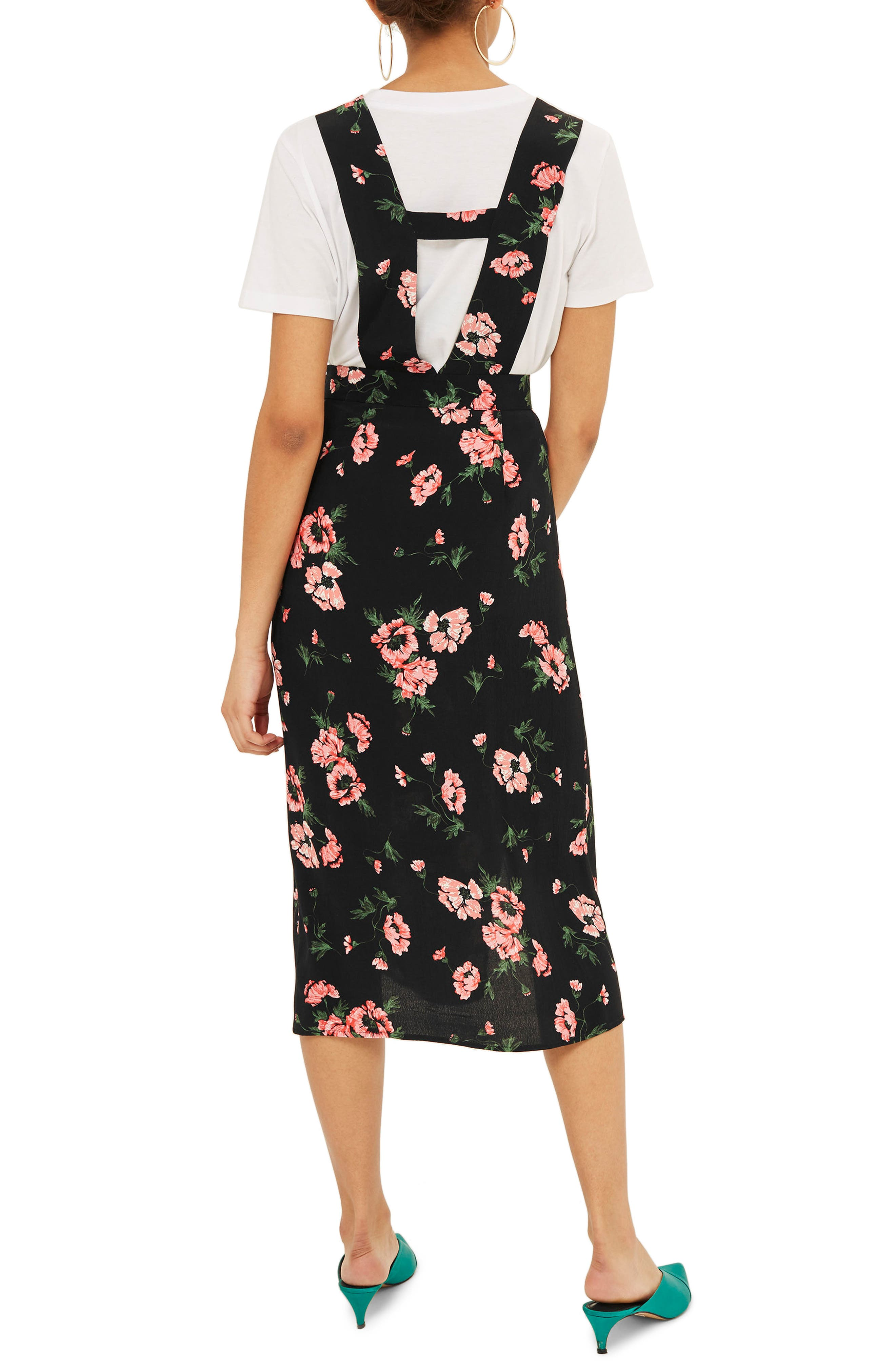 Posy Pinafore Midi Dress,                             Alternate thumbnail 3, color,                             Black Multi