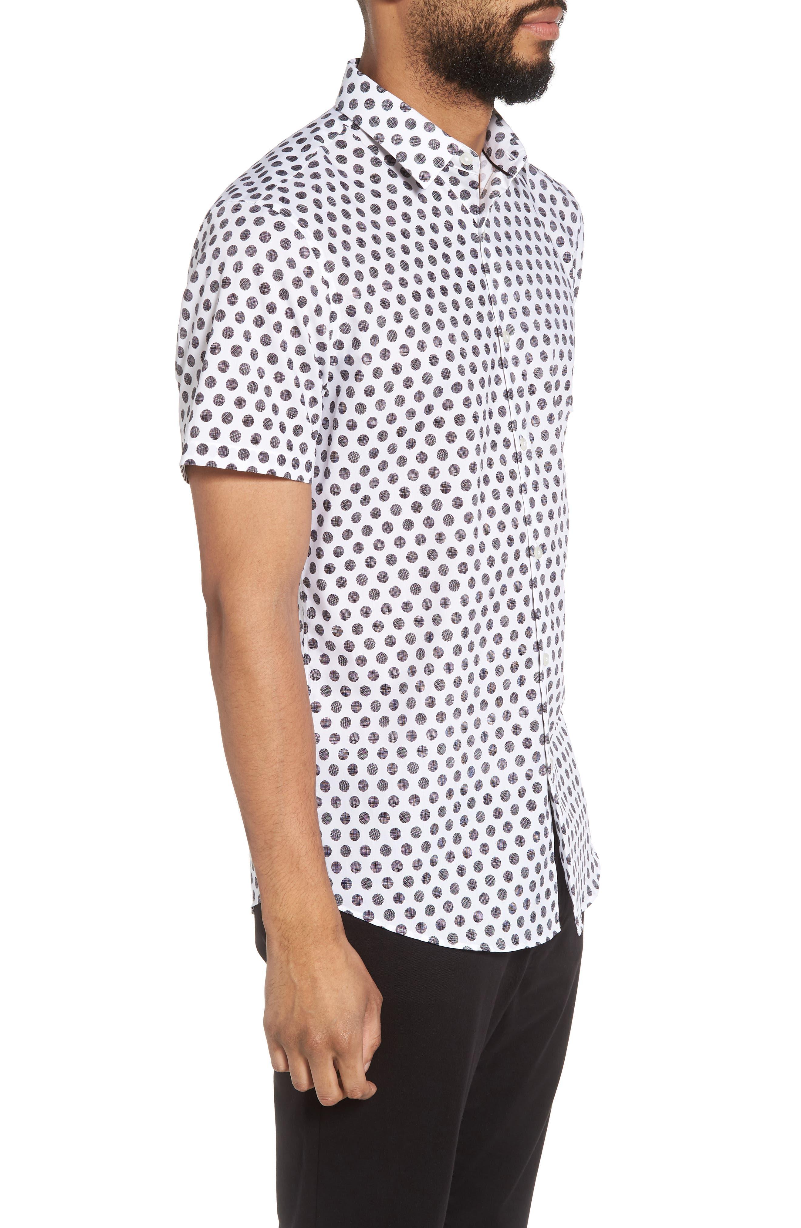 Dot Sport Shirt,                             Alternate thumbnail 4, color,                             White Black Hatch Dot