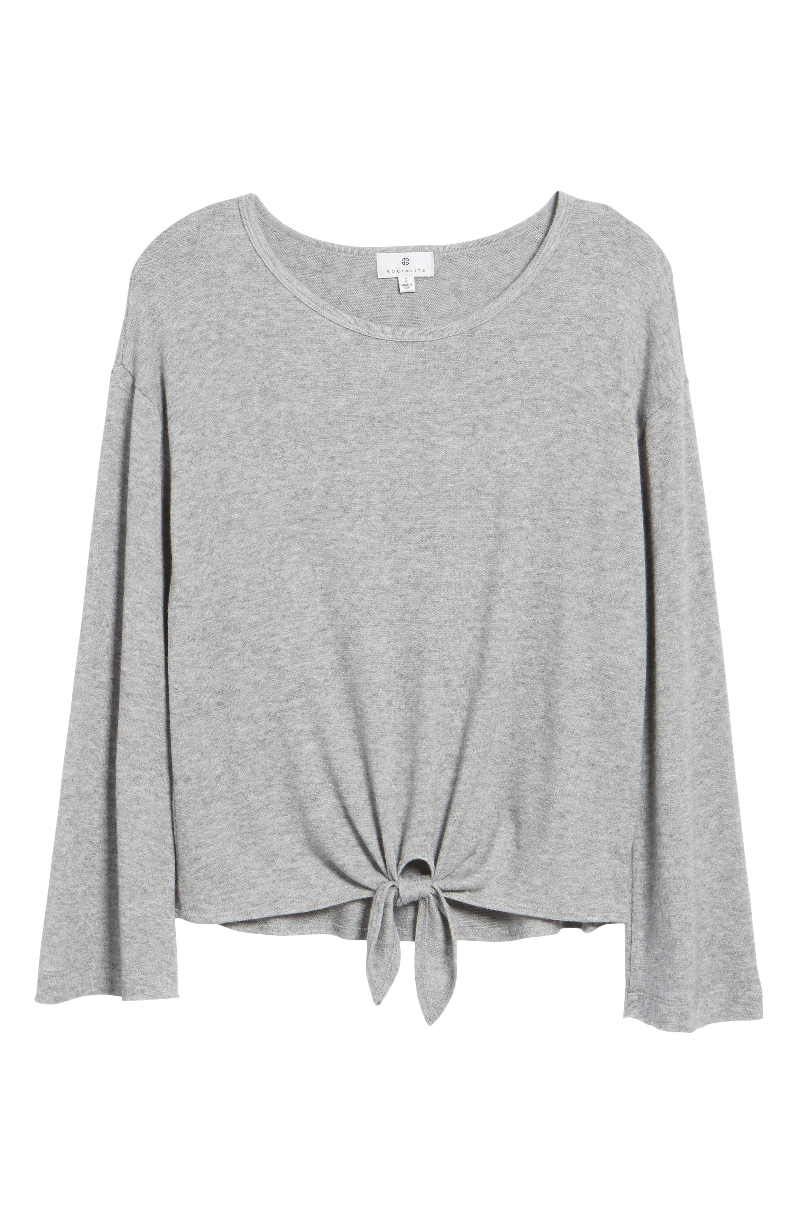 Tie Waist Pullover,                             Alternate thumbnail 6, color,                             Grey