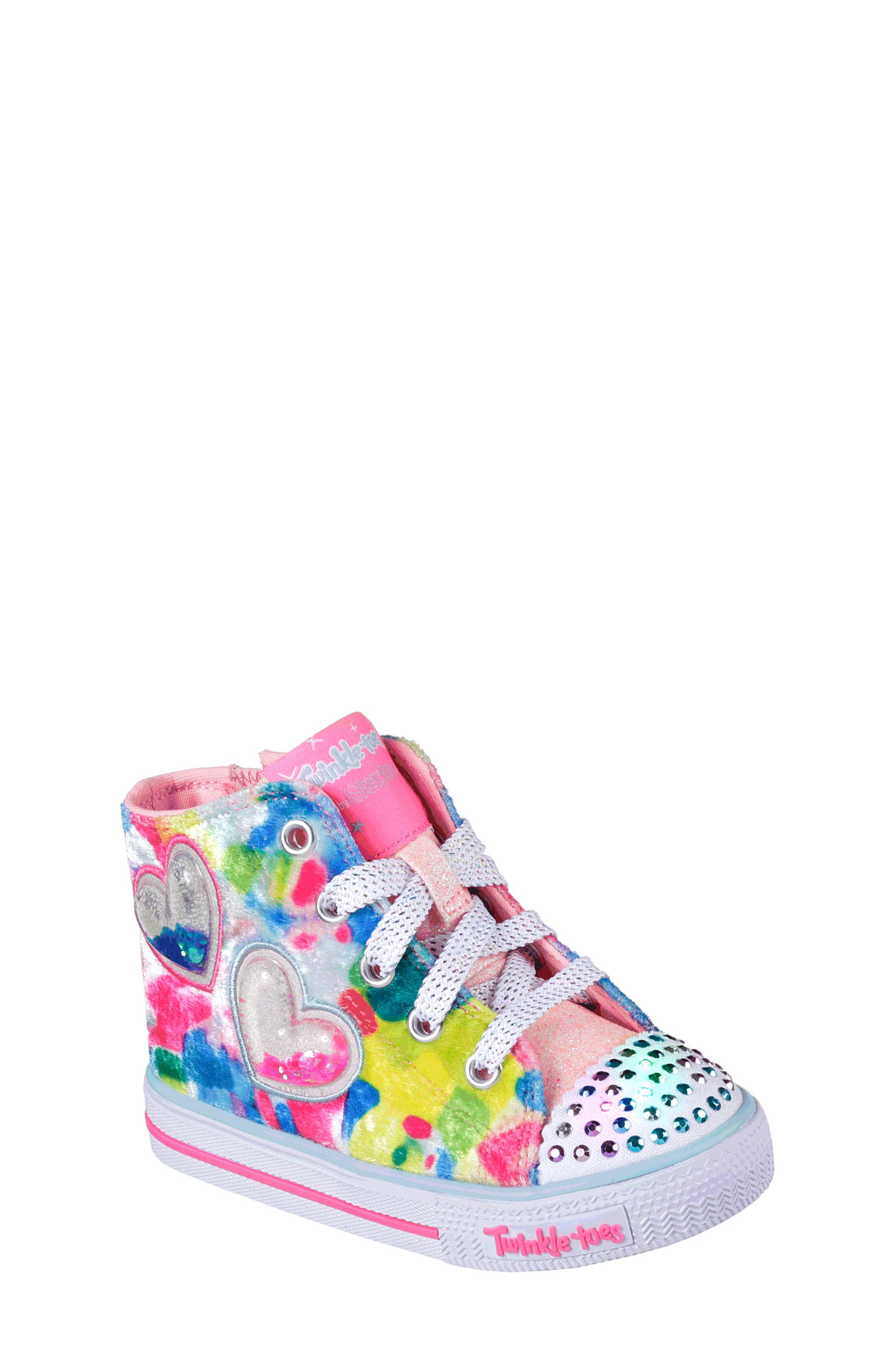 Twinkle Toes Shuffles Light-Up High Top Sneaker,                         Main,                         color, Hot Pink/ Multi Velvet